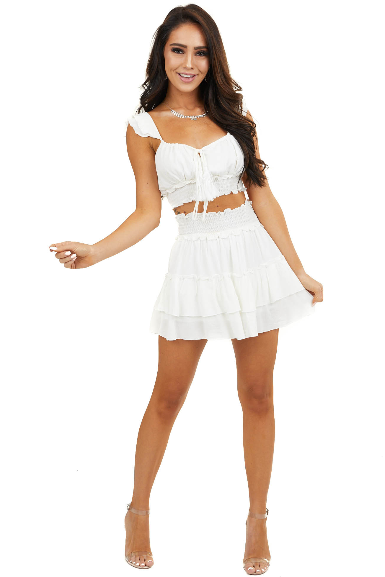 White Smocked Crop Top and Ruffled Mini Skirt Two Piece Set