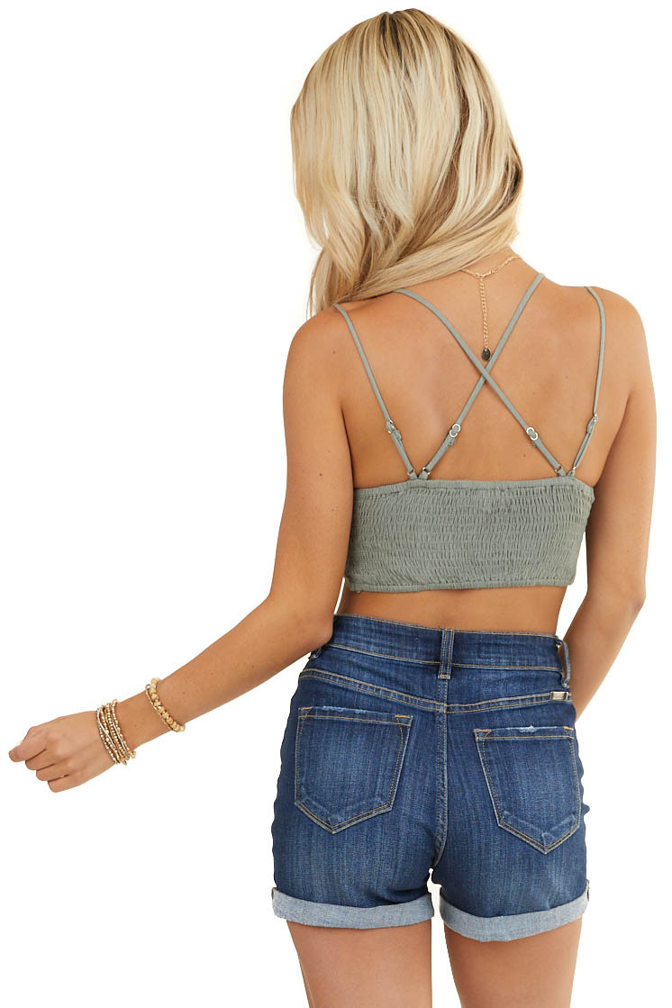 Dusty Sage Crochet Lace Bralette with Smocked Back