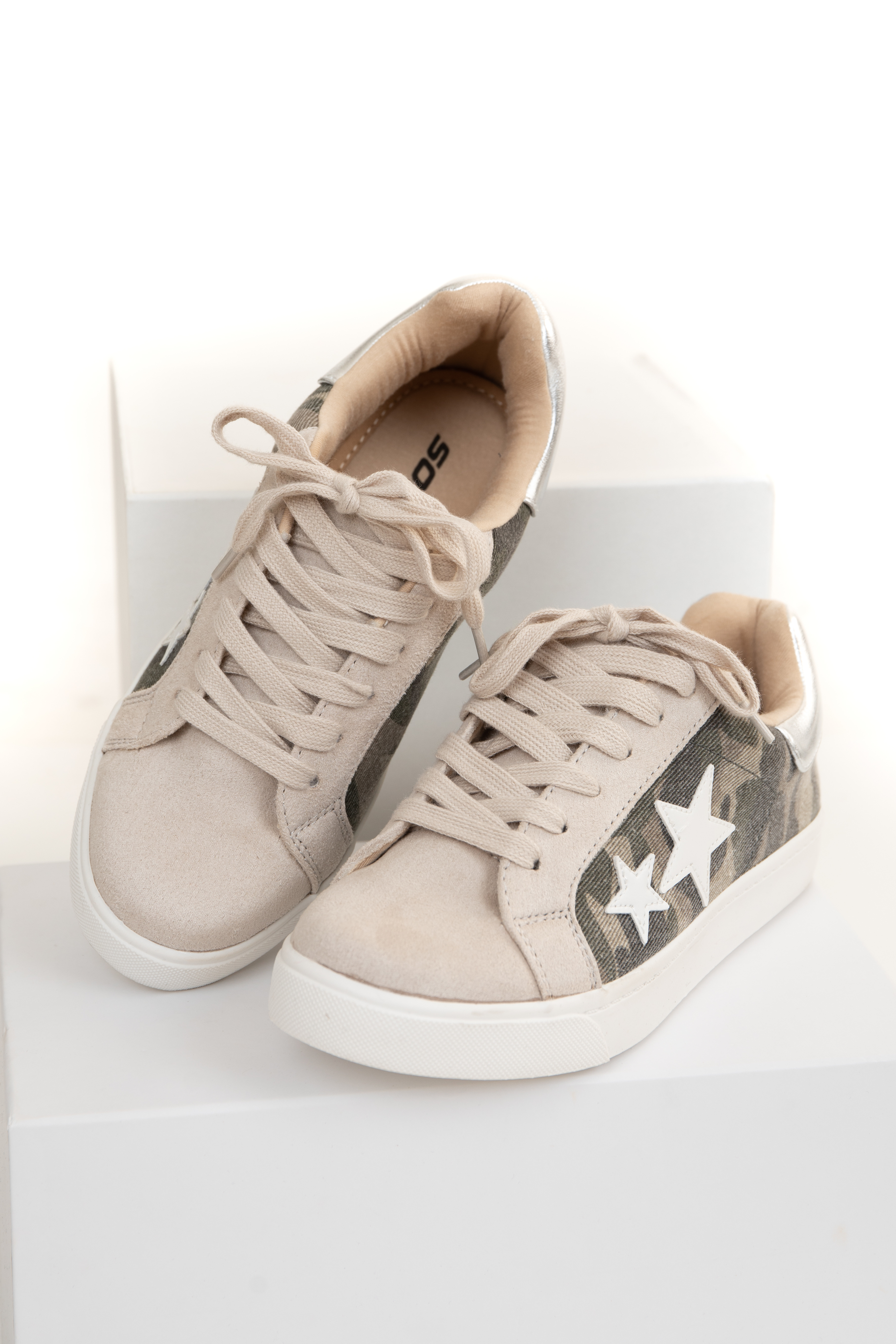 Tan and Camo Faux Suede Lace Up Sneakers with Star Detail
