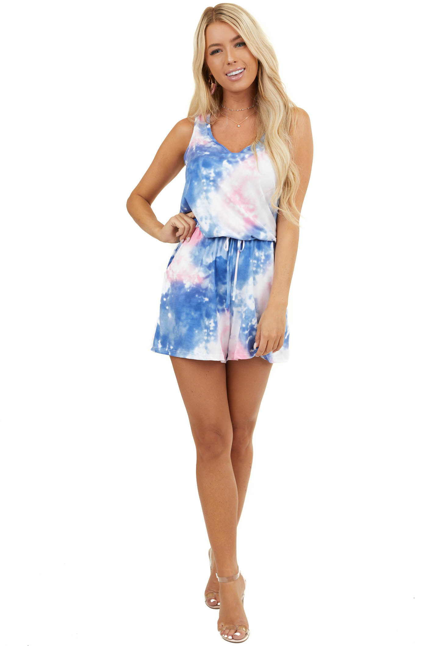 Blue Tie Dye Super Soft Sleeveless Romper with Pockets