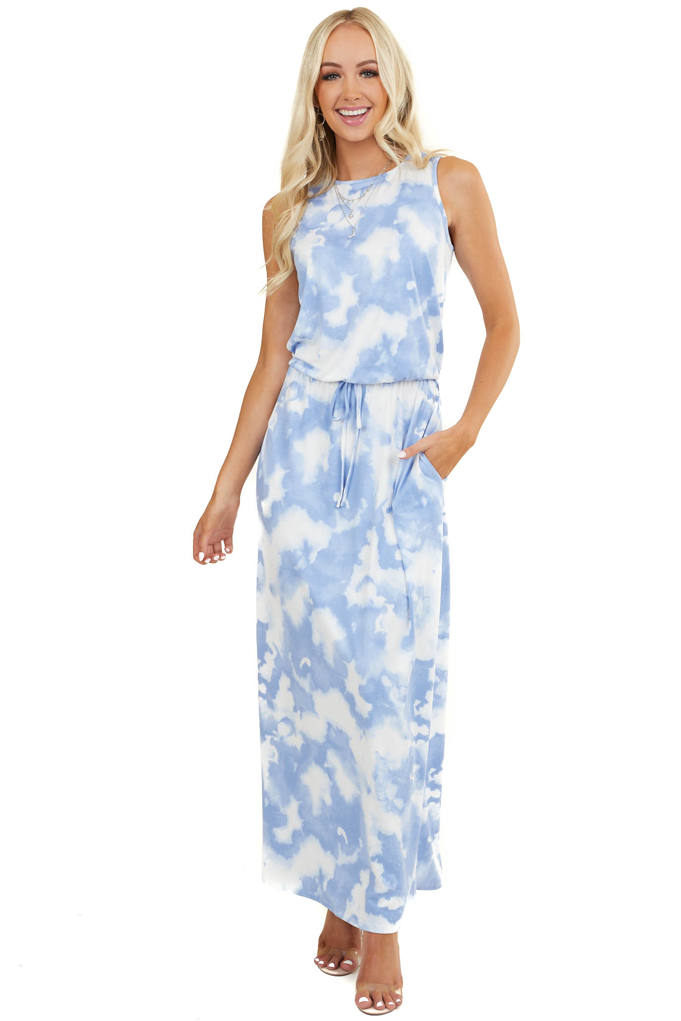 Powder Blue Tie Dye Sleeveless Maxi Dress with Pockets