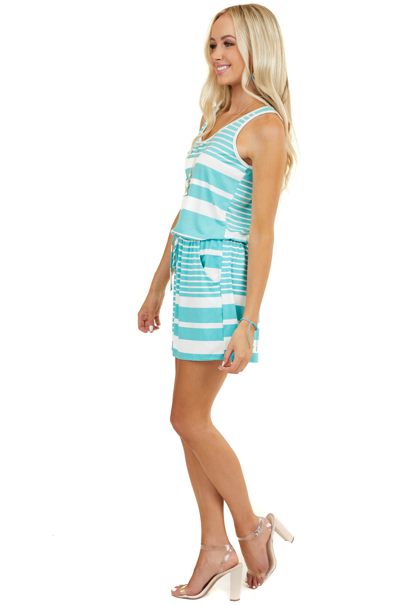 Aqua Striped Super Soft Sleeveless Romper with Pockets