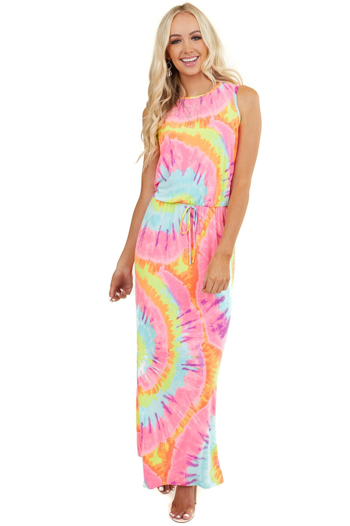Neon Multicolor Tie Dye Sleeveless Maxi Dress with Pockets