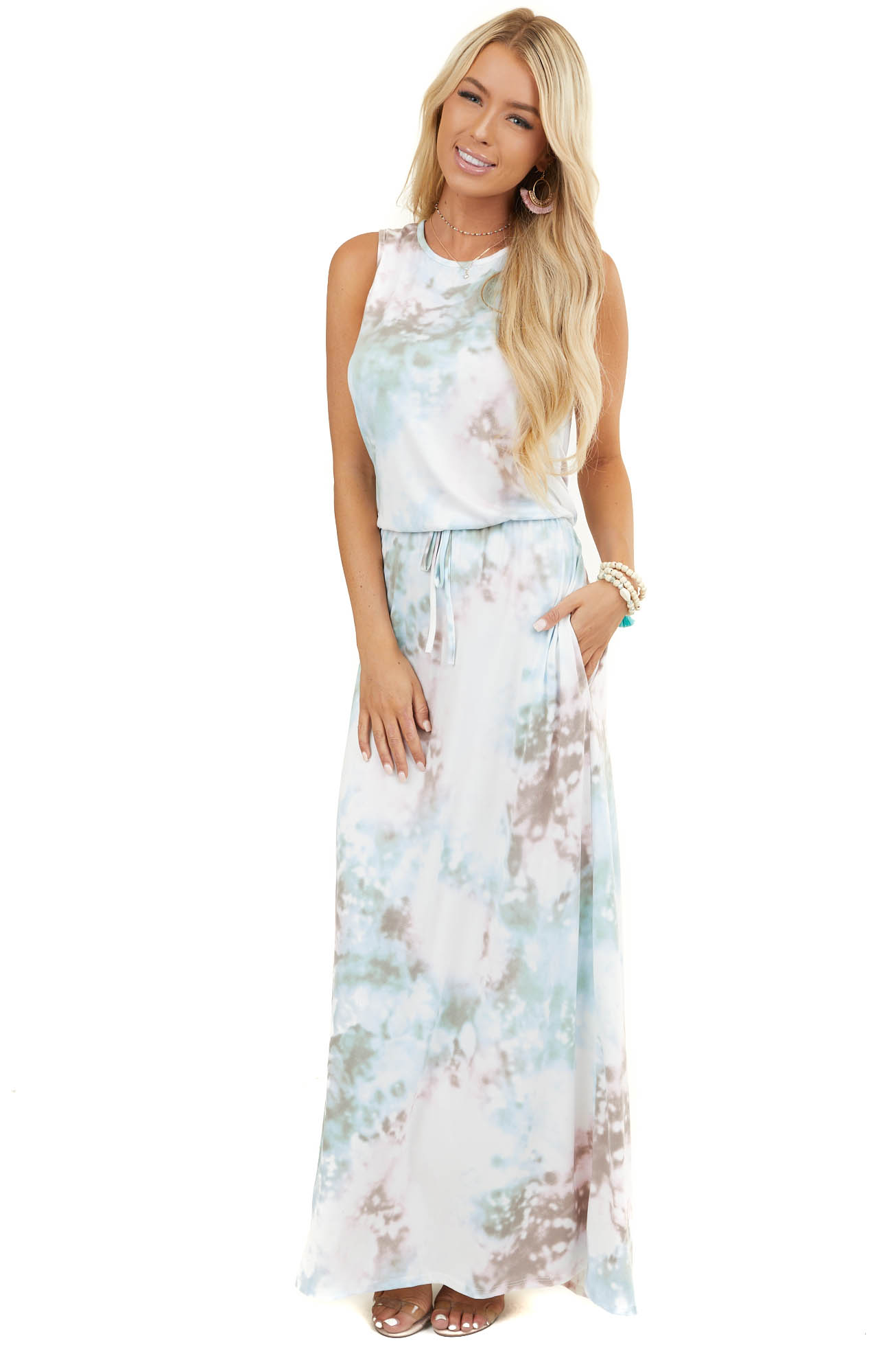 Taupe Multicolor Tie Dye Sleeveless Maxi Dress with Pockets