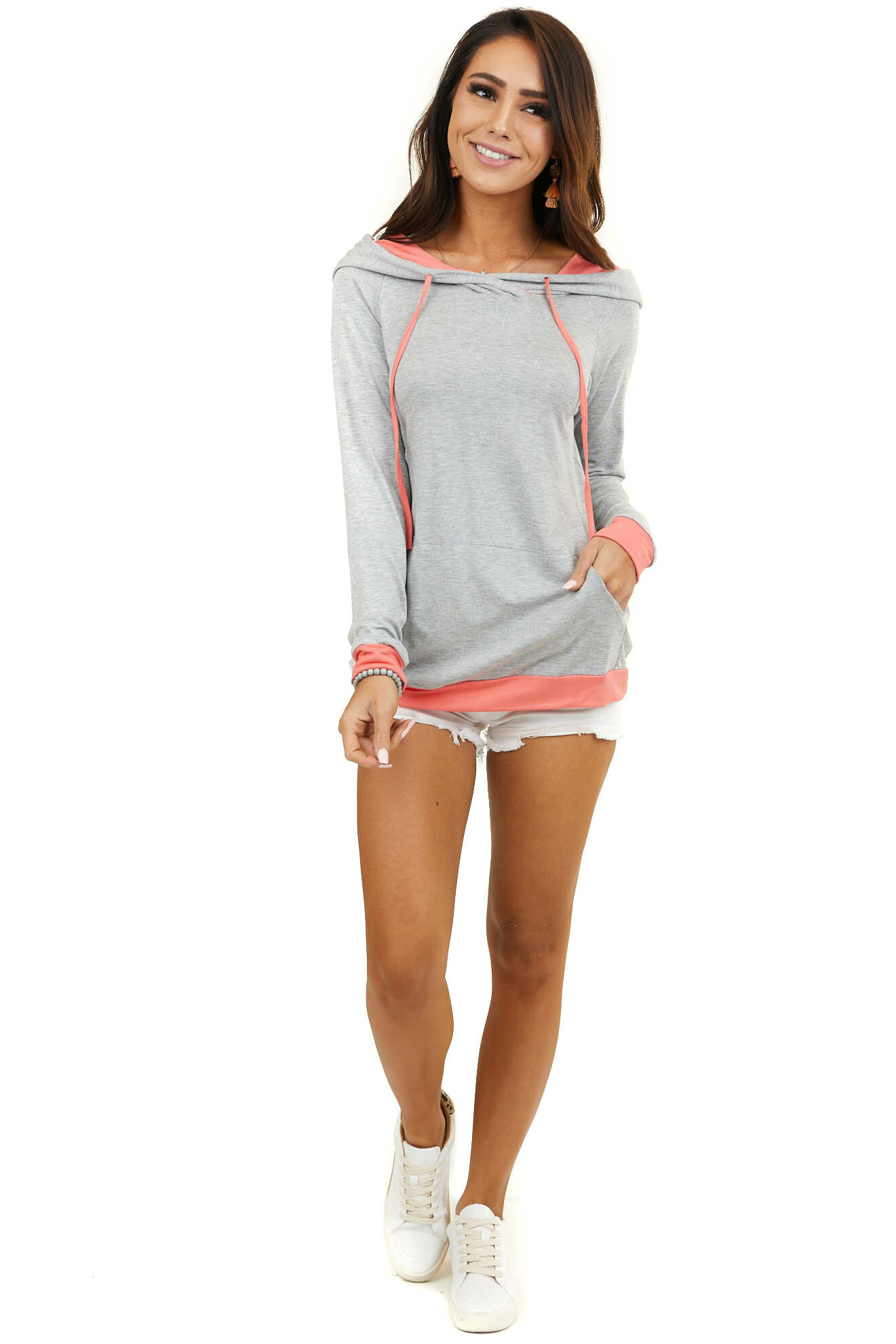 Heather Grey Long Sleeve Hoodie with Coral Contrasting Trim