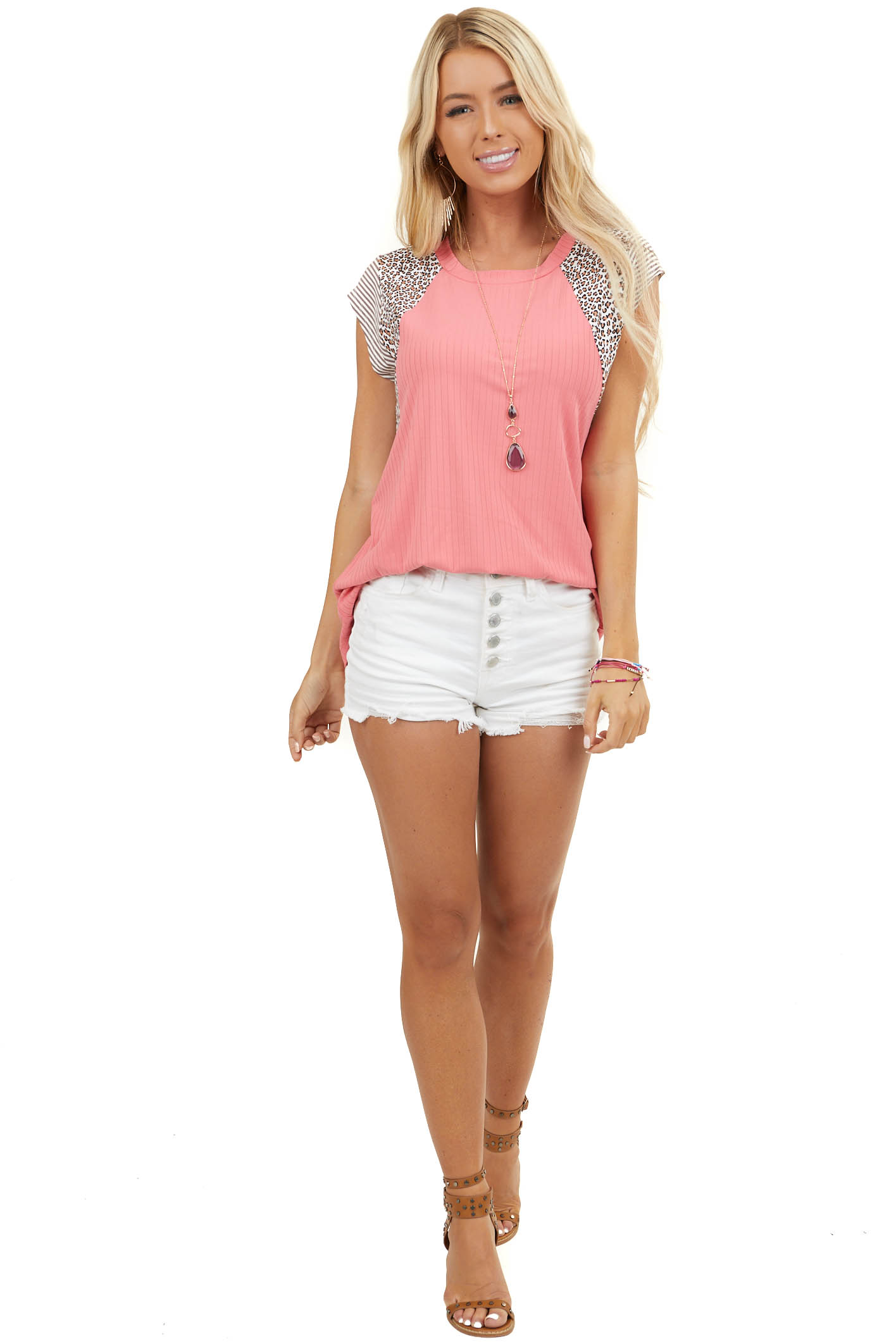 Coral Ribbed Knit Top with Short Multiprint Sleeves