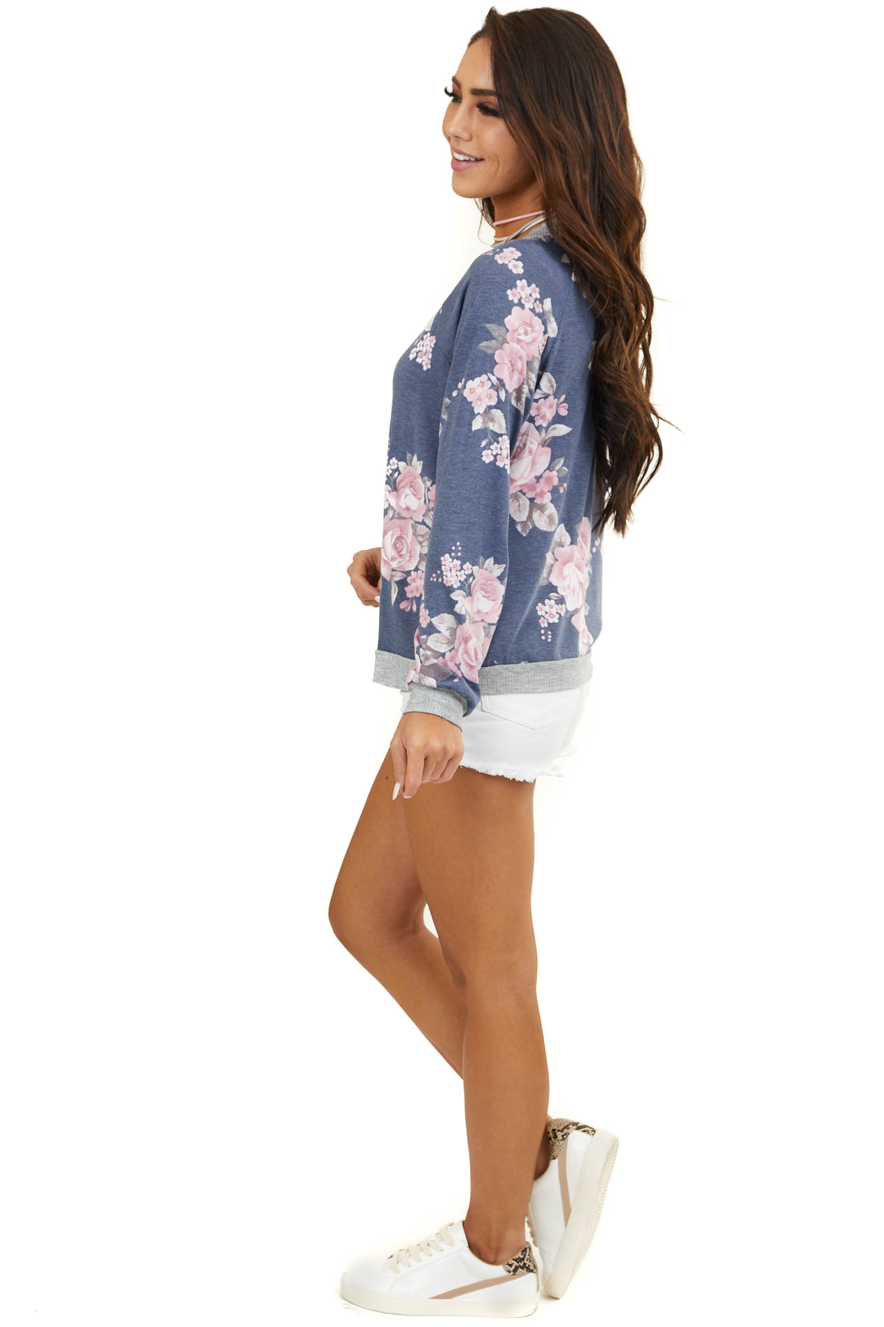Faded Navy Floral Knit Bomber Jacket with Pockets