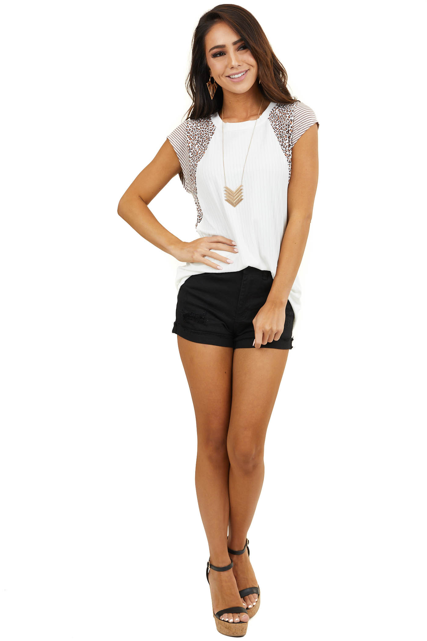 Ivory Ribbed Knit Top with Short Multiprint Sleeves
