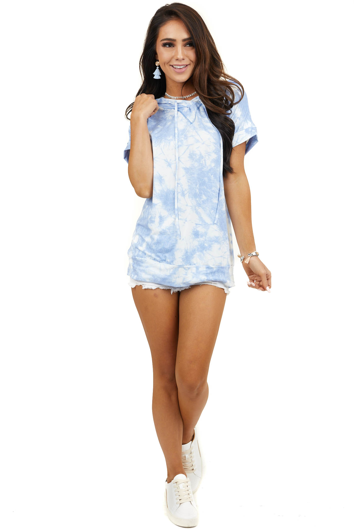 Blue and Ivory Tie Dye Short Sleeve Knit Tee Shirt Hoodie