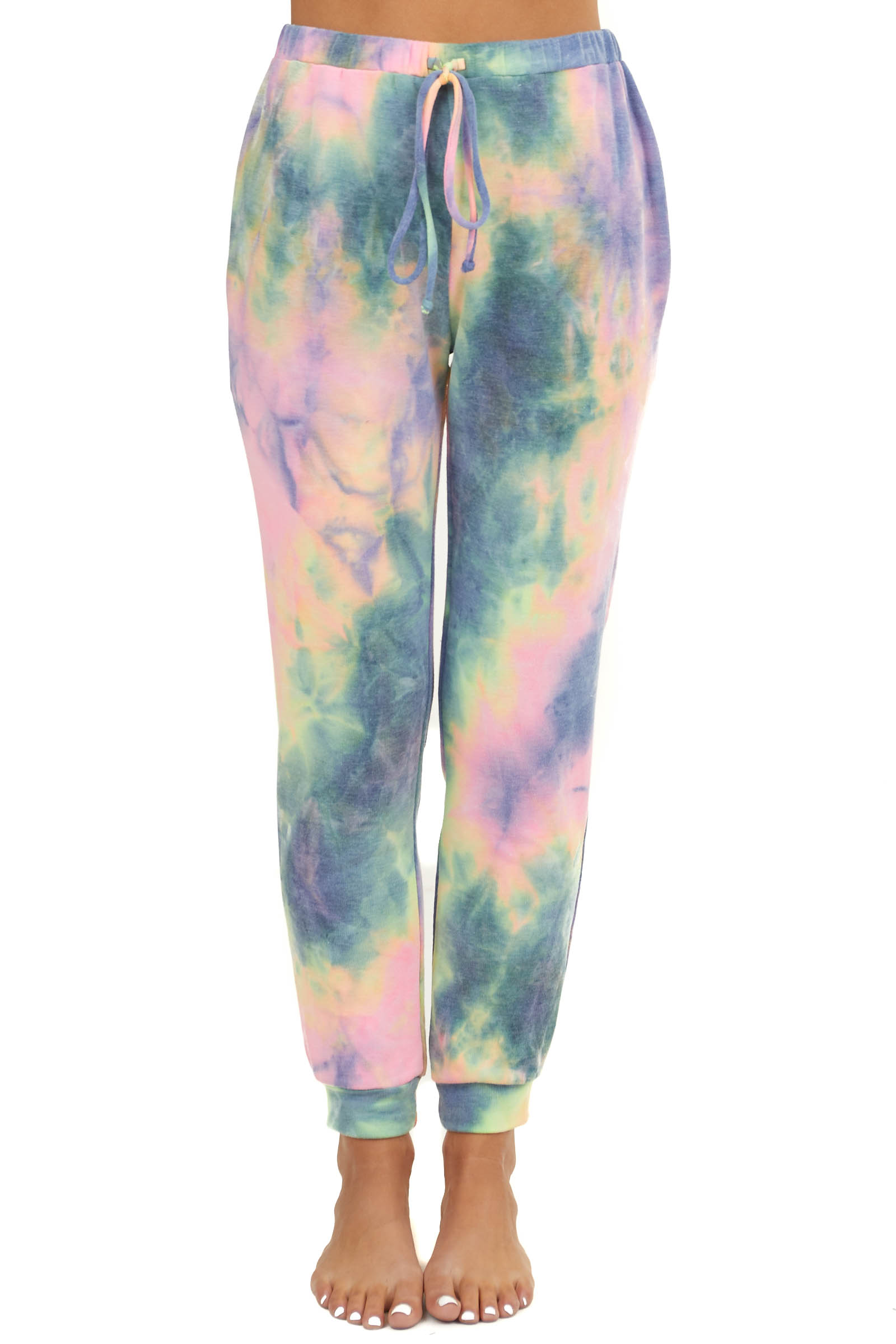 Rainbow Tie Dye Knit Joggers with Pockets and Waist Tie