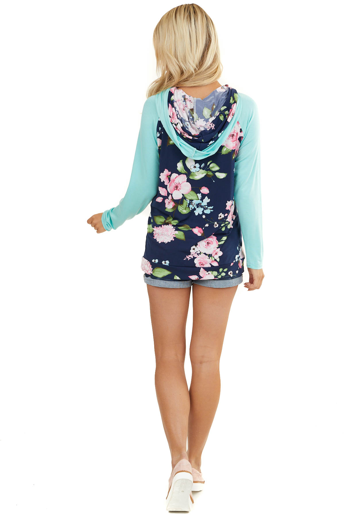 Navy Floral Knit Hoodie with Mint Contrasts