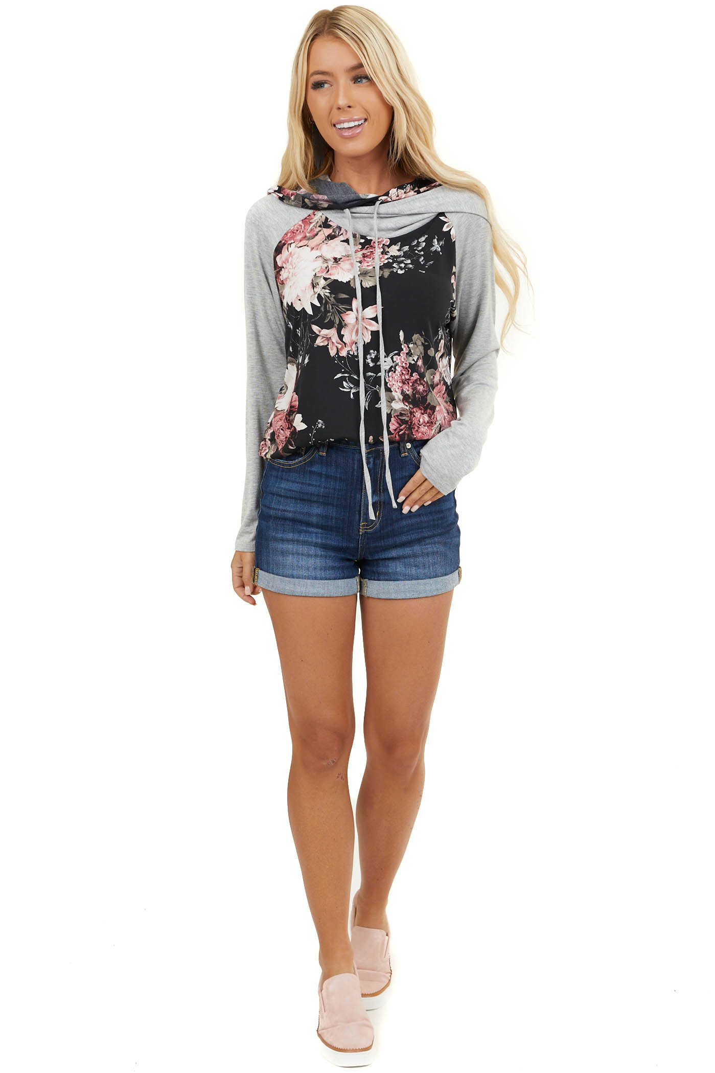 Black Floral Knit Hoodie with Heather Gray Contrasts