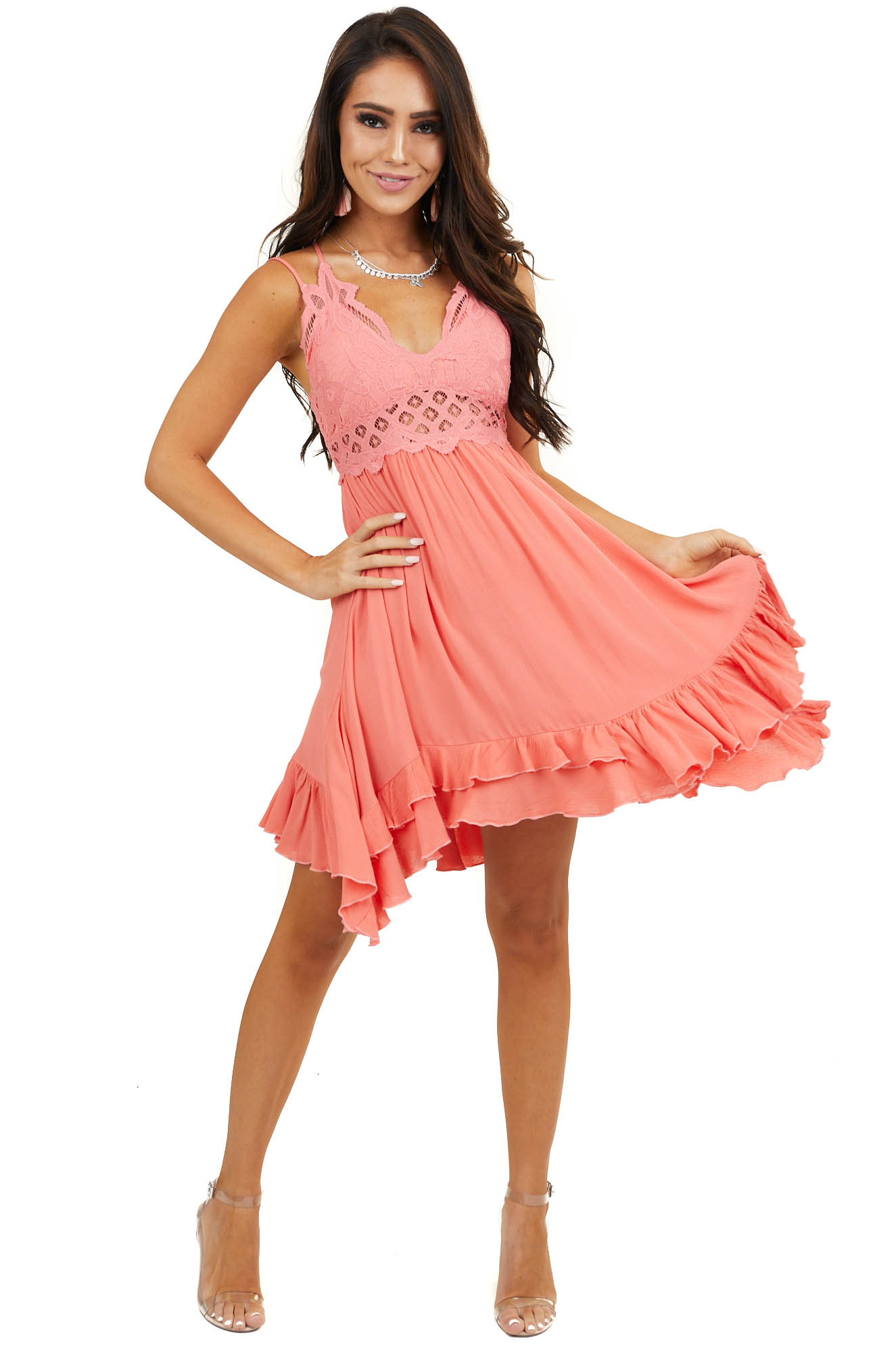 Coral Double Spaghetti Strap Mini Dress with Lace Bust Detail
