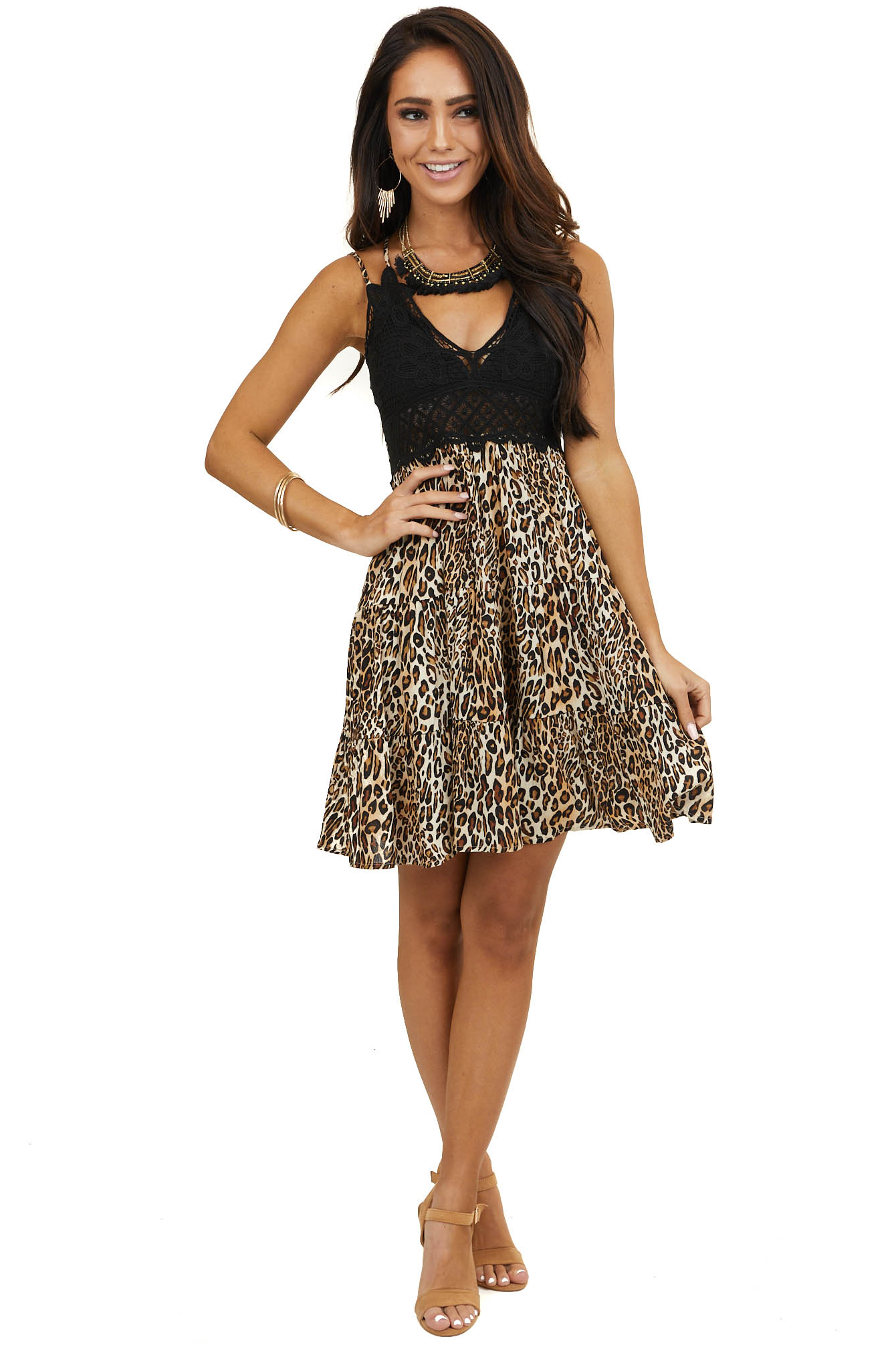 Beige and Black Leopard Print Dress with Crochet Lace Bust