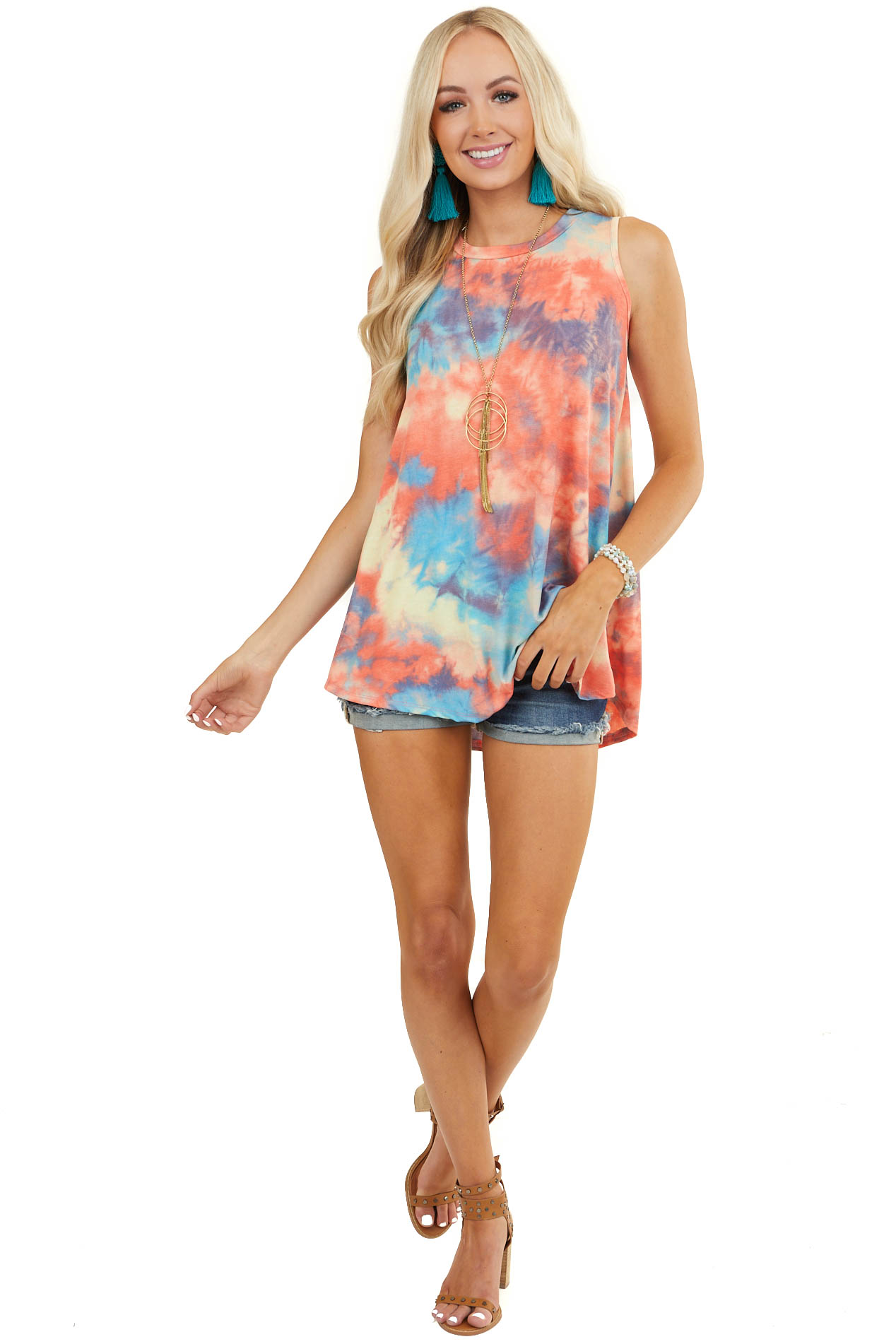 Coral Multicolor Tie Dye Tunic Sleeveless Knit Top