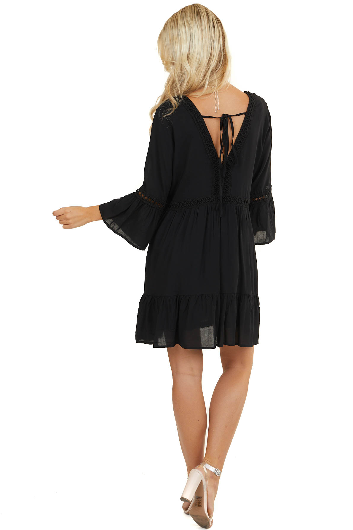 Black 3/4 Sleeve V Neck Dress with Embroidery Details