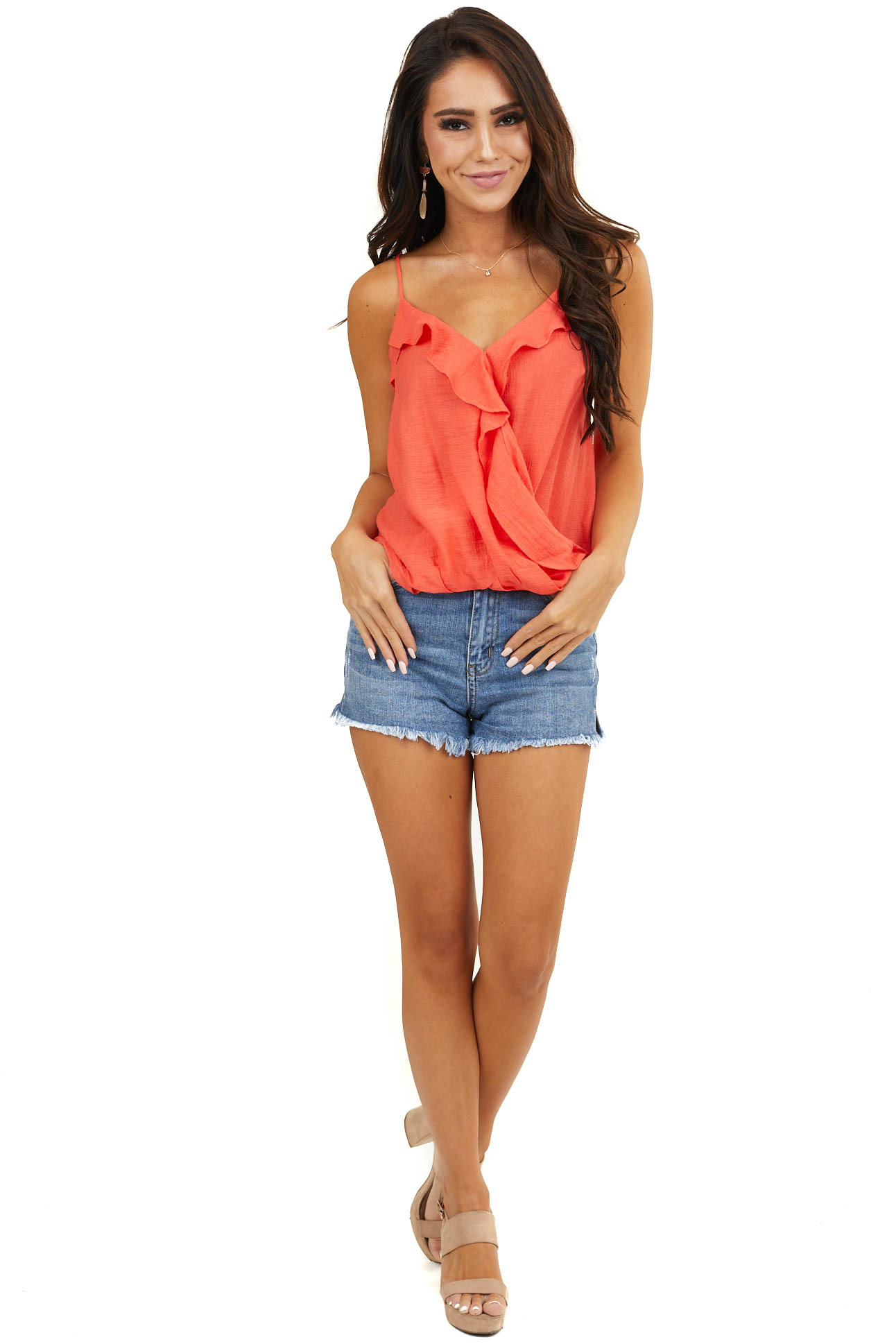 Neon Coral Sleeveless Surplice Woven Top with Ruffle Detail