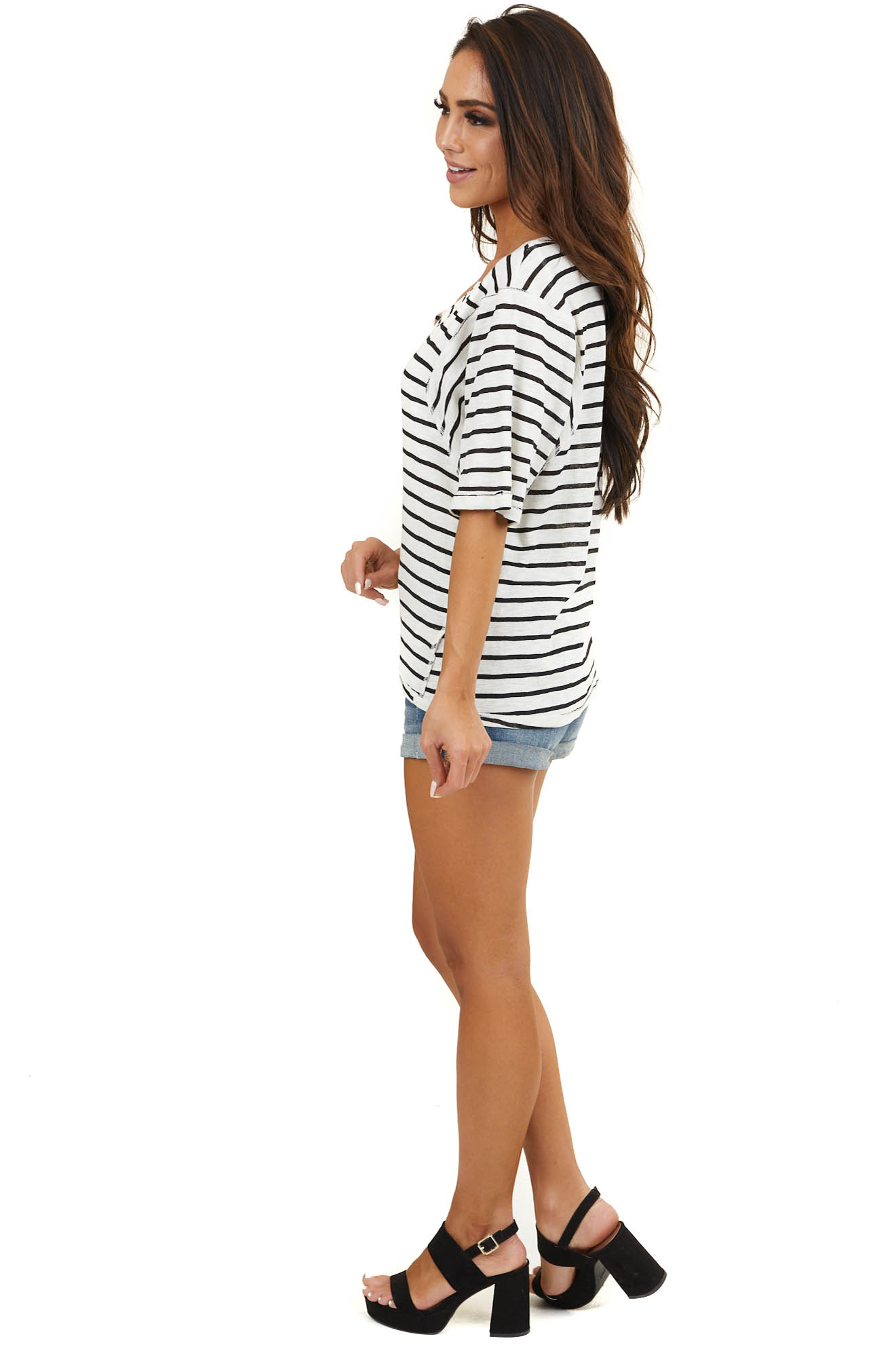 Ivory and Black Striped Short Sleeve Top with V Neckline