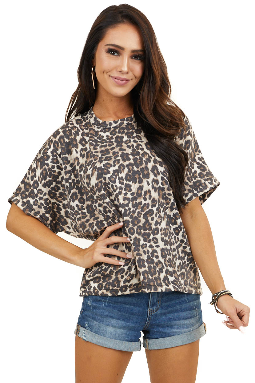 Tan and Black Leopard Print Top with Short Dolman Sleeves