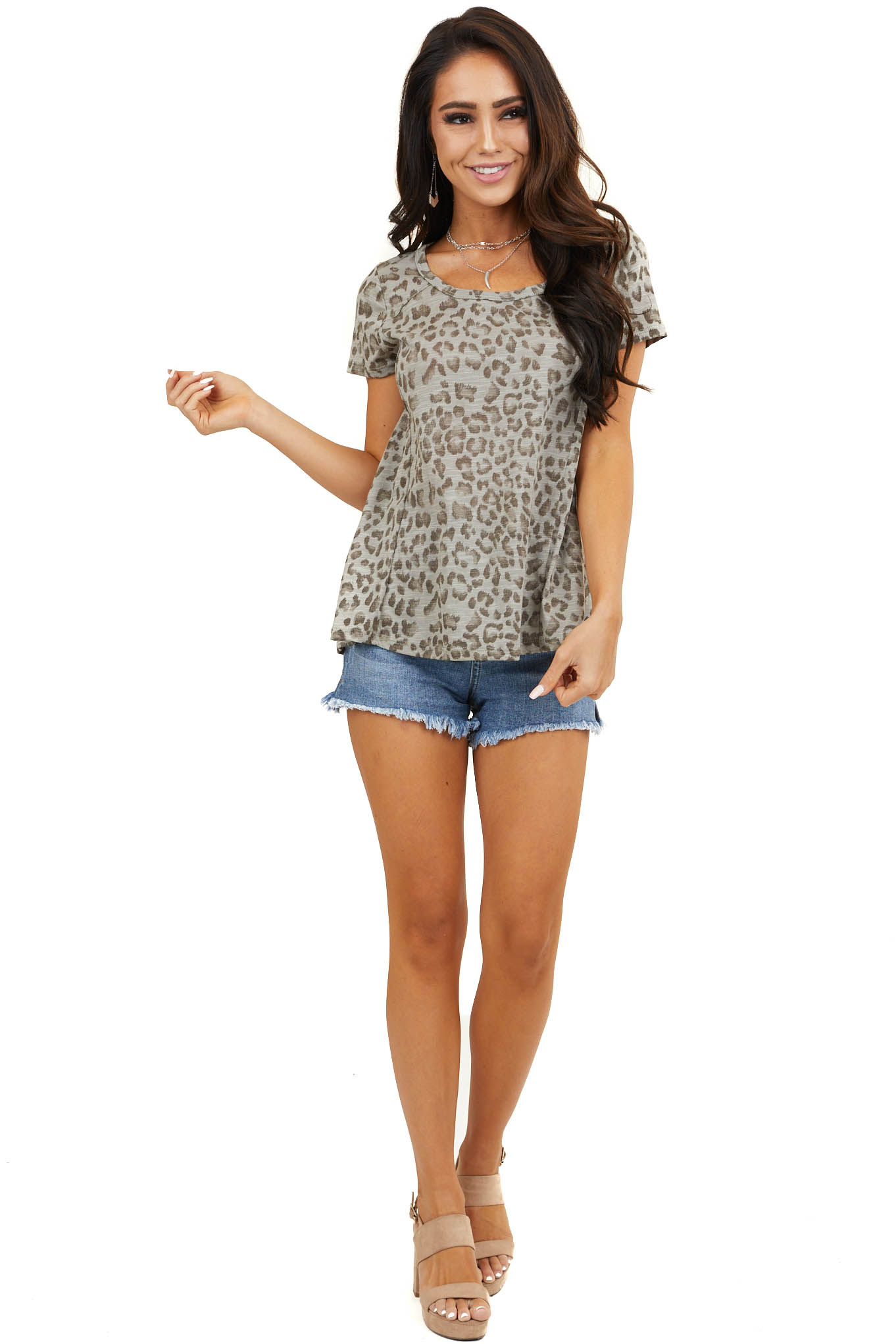 Dark Sage and Mocha Leopard Print Short Sleeve High Low Top