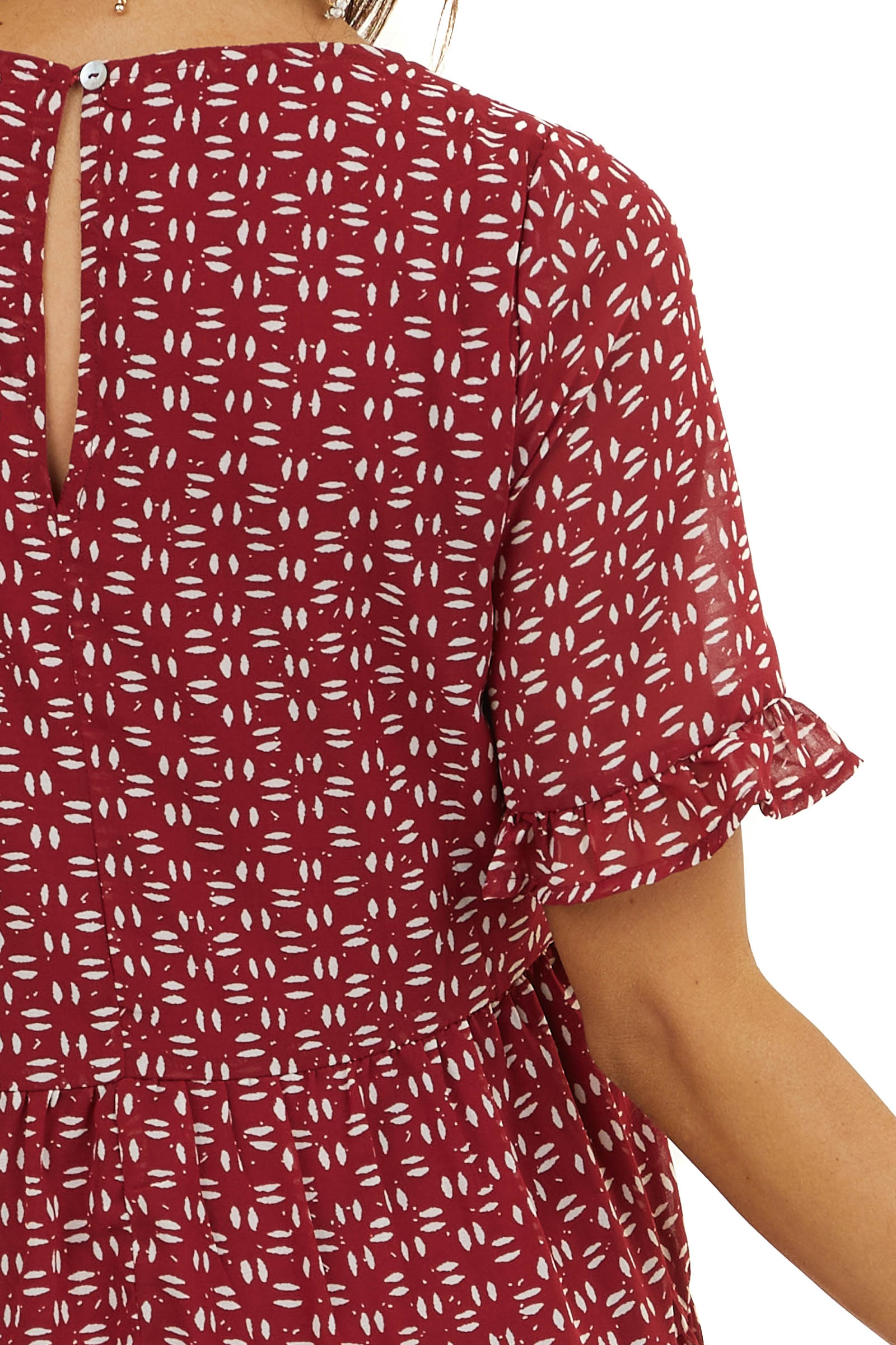 Maroon and Ivory Patterned Dress with Short Ruffled Sleeves