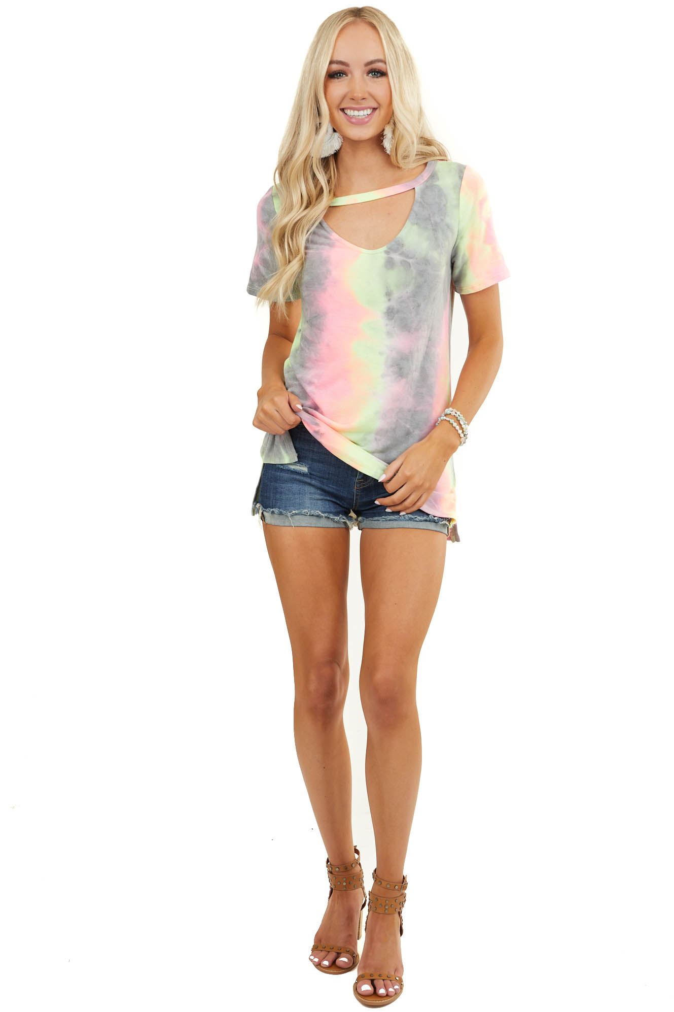 Grey Multicolor Tie Dye Short Sleeve Top with Front Cutout