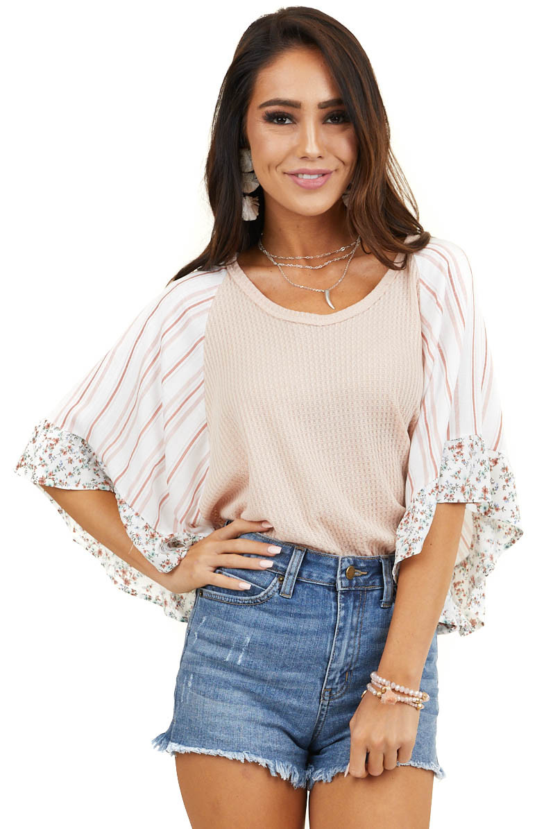 Peach Waffle Knit Top with Short Multiprint Ruffled Sleeves
