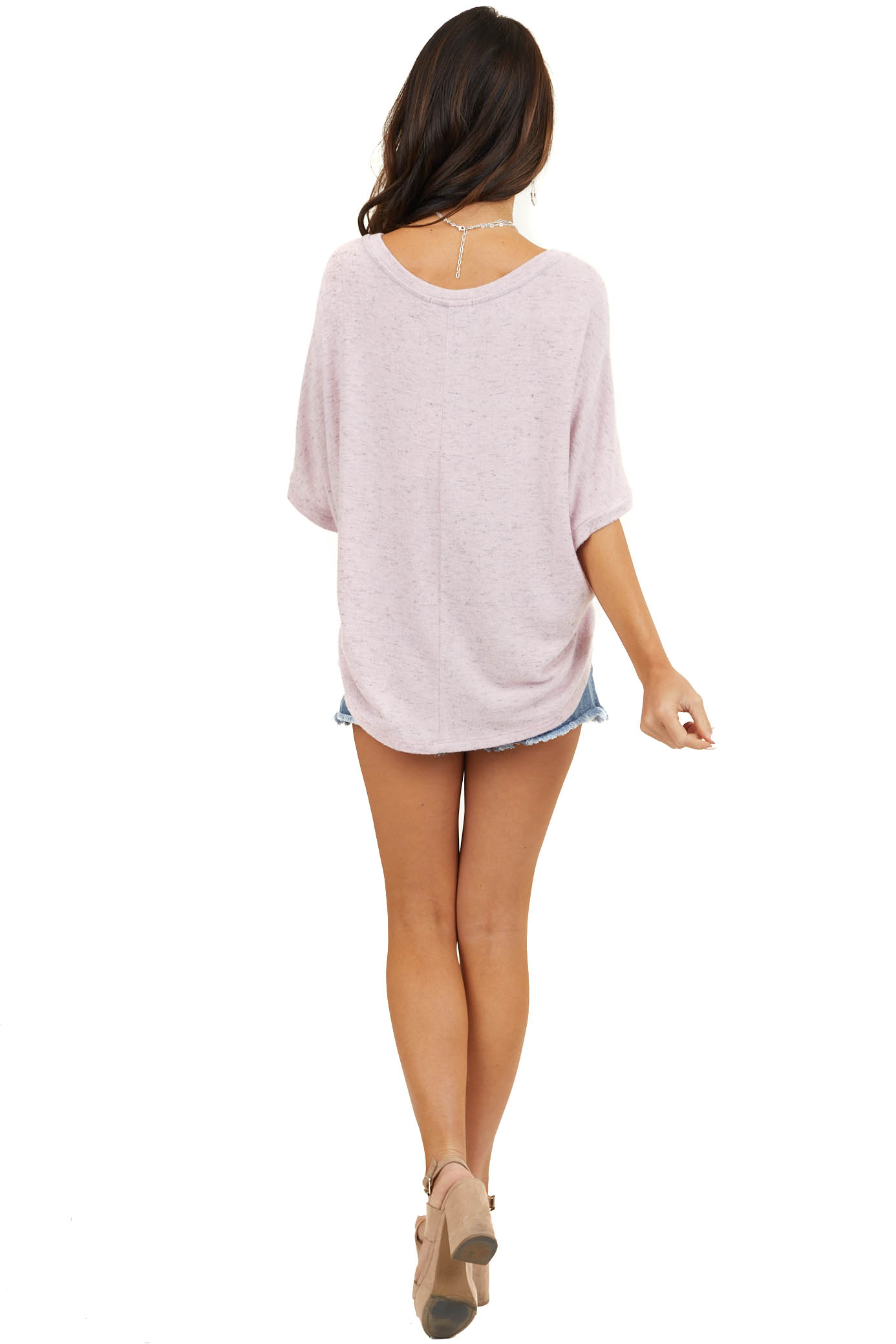 Pale Pink Two Tone Super Soft Top with Dolman Sleeves