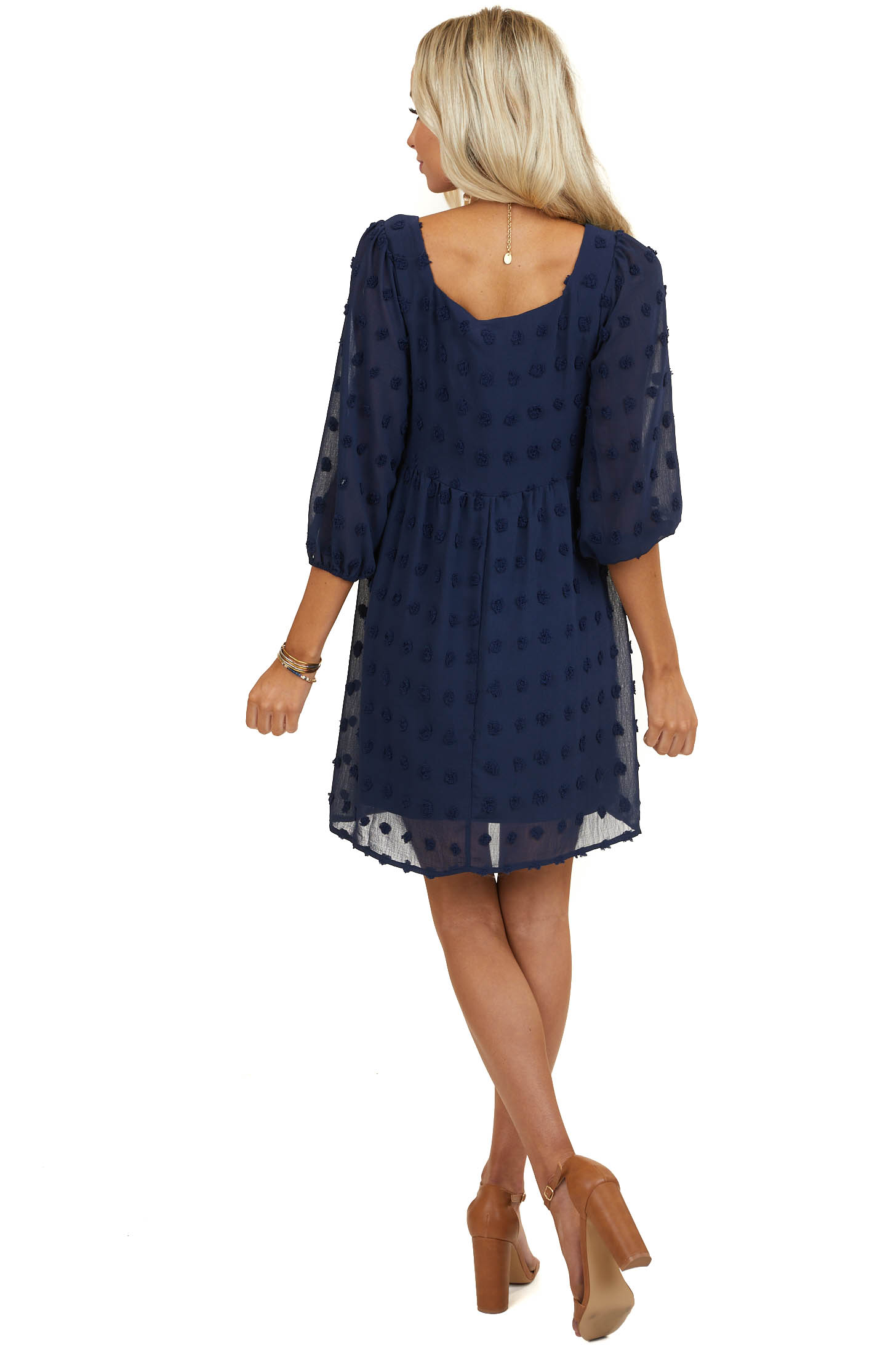 Navy Swiss Dot Babydoll Dress with 3/4 Length Sleeves