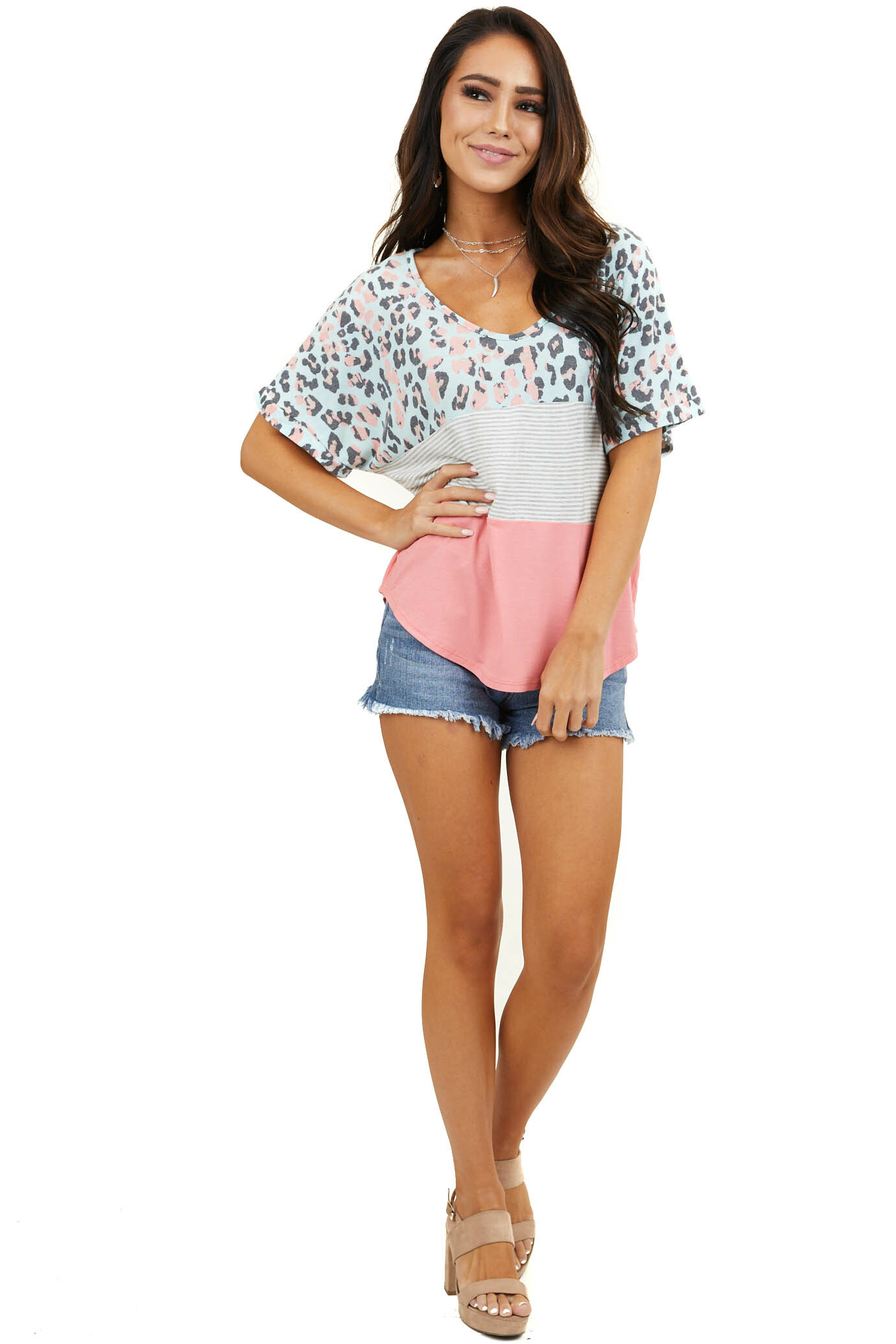 Coral Multiprint Colorblock Top with Short Cuffed Sleeves