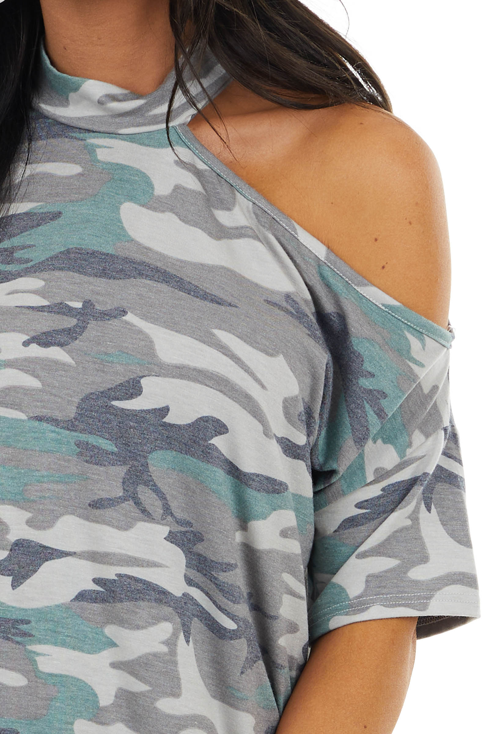 Ash Grey Camo Print One Cold Shoulder Short Sleeve Top