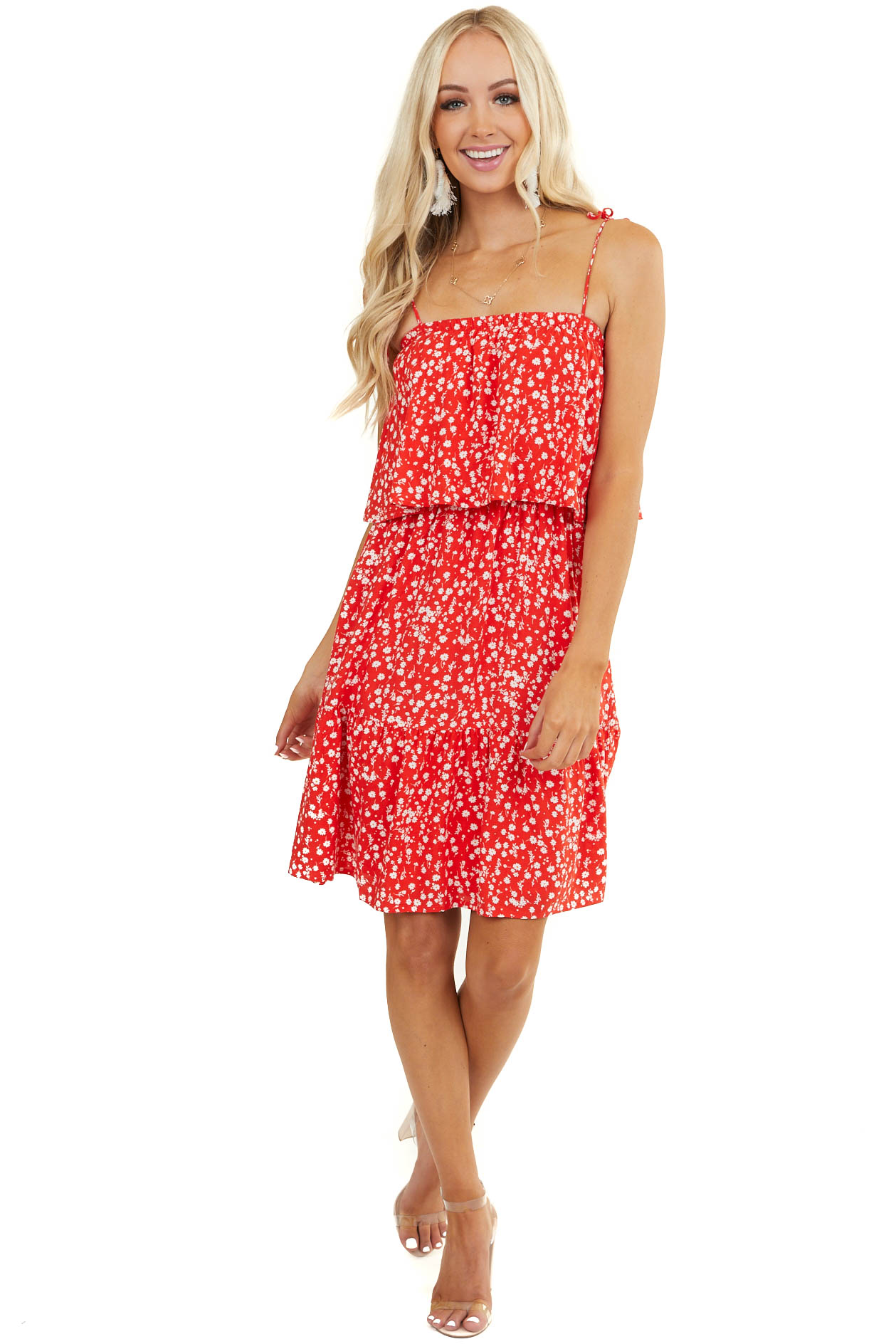 Tomato Red Floral Print Spaghetti Strap Dress with Overlay