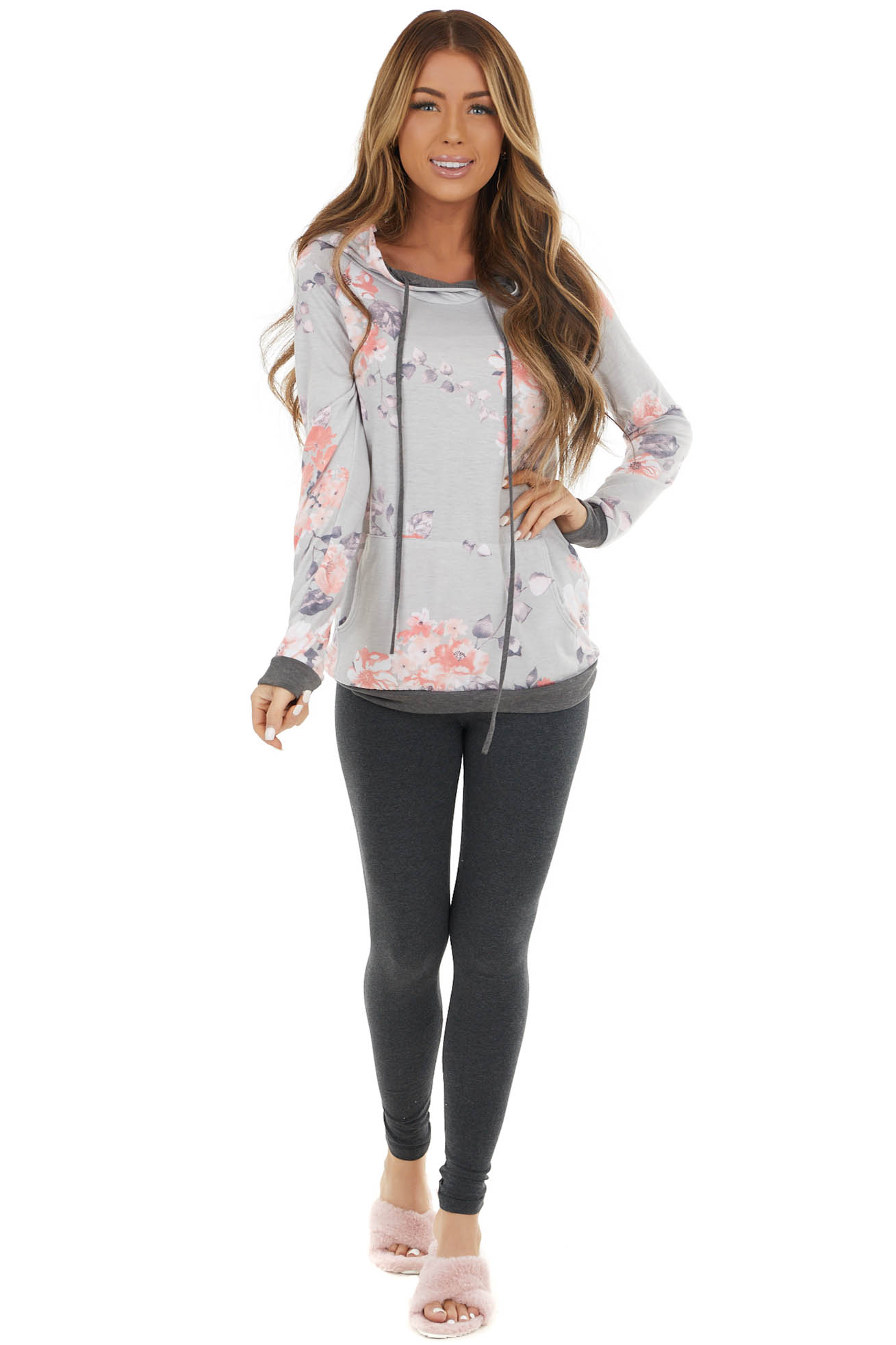 Dove Grey Floral Print Hoodie with Charcoal Contrast