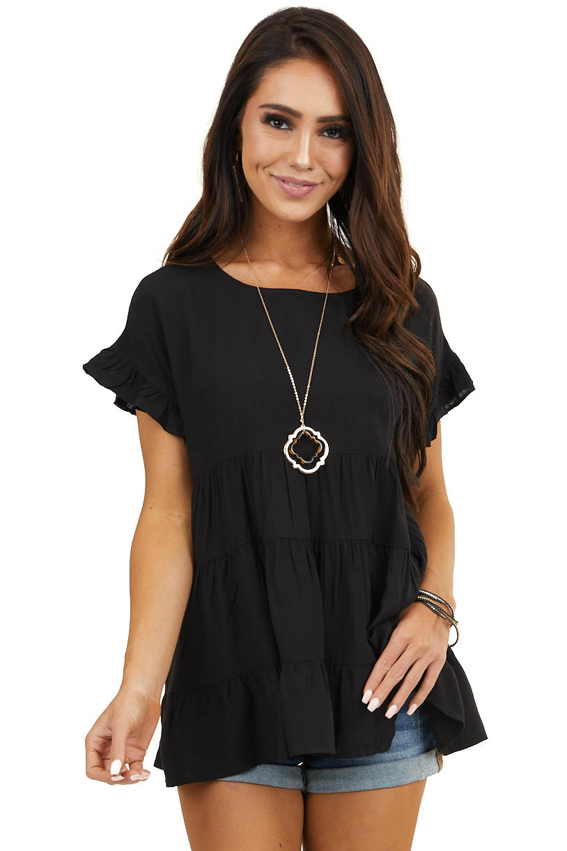 Black Babydoll Woven Top with Short Ruffled Sleeves