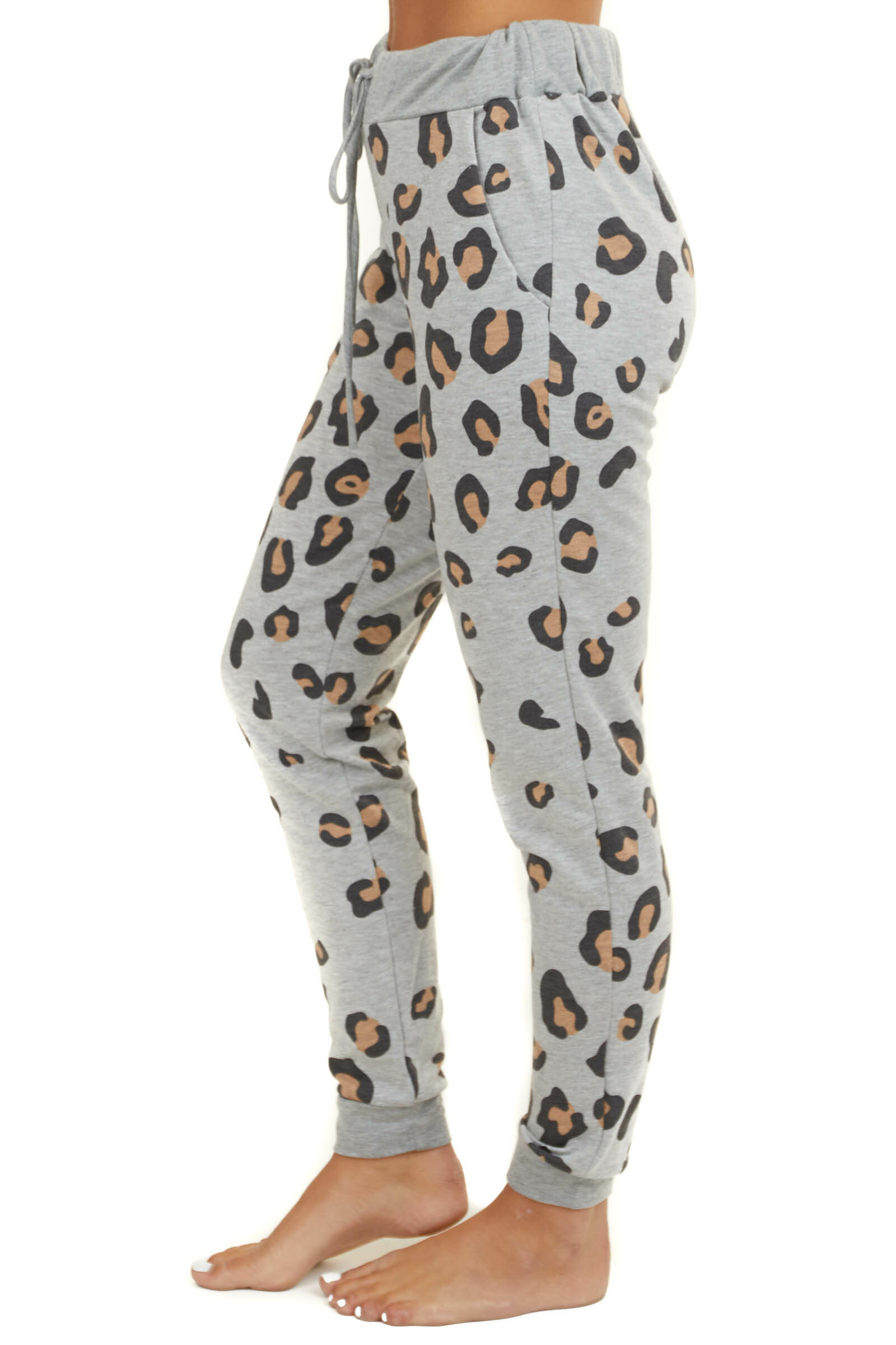 Heather Grey Leopard Knit Joggers with Pockets and Waist Tie
