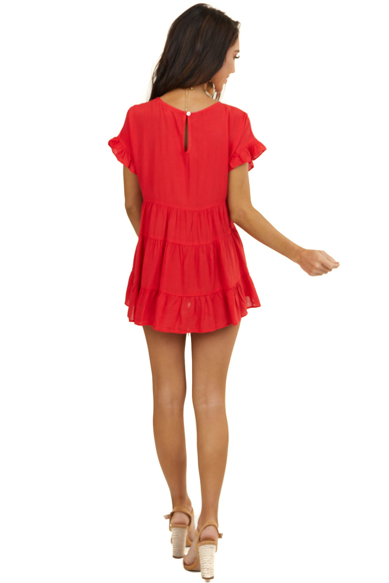 Lipstick Red Babydoll Woven Top with Short Ruffled Sleeves