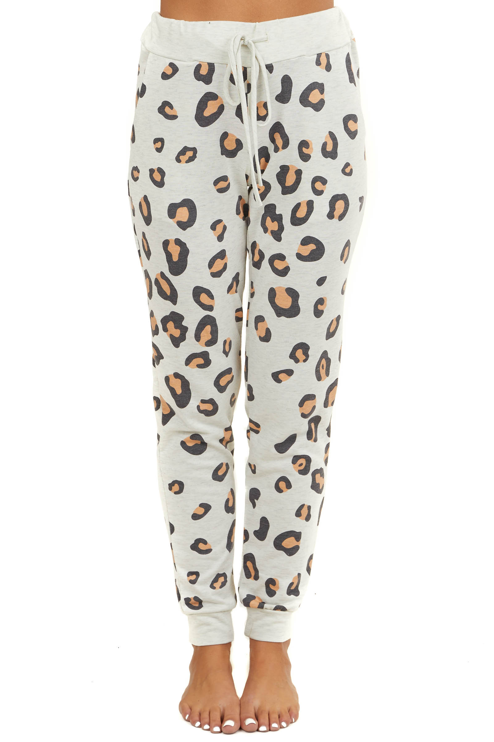 Cream Leopard Knit Joggers with Pockets and Waist Tie