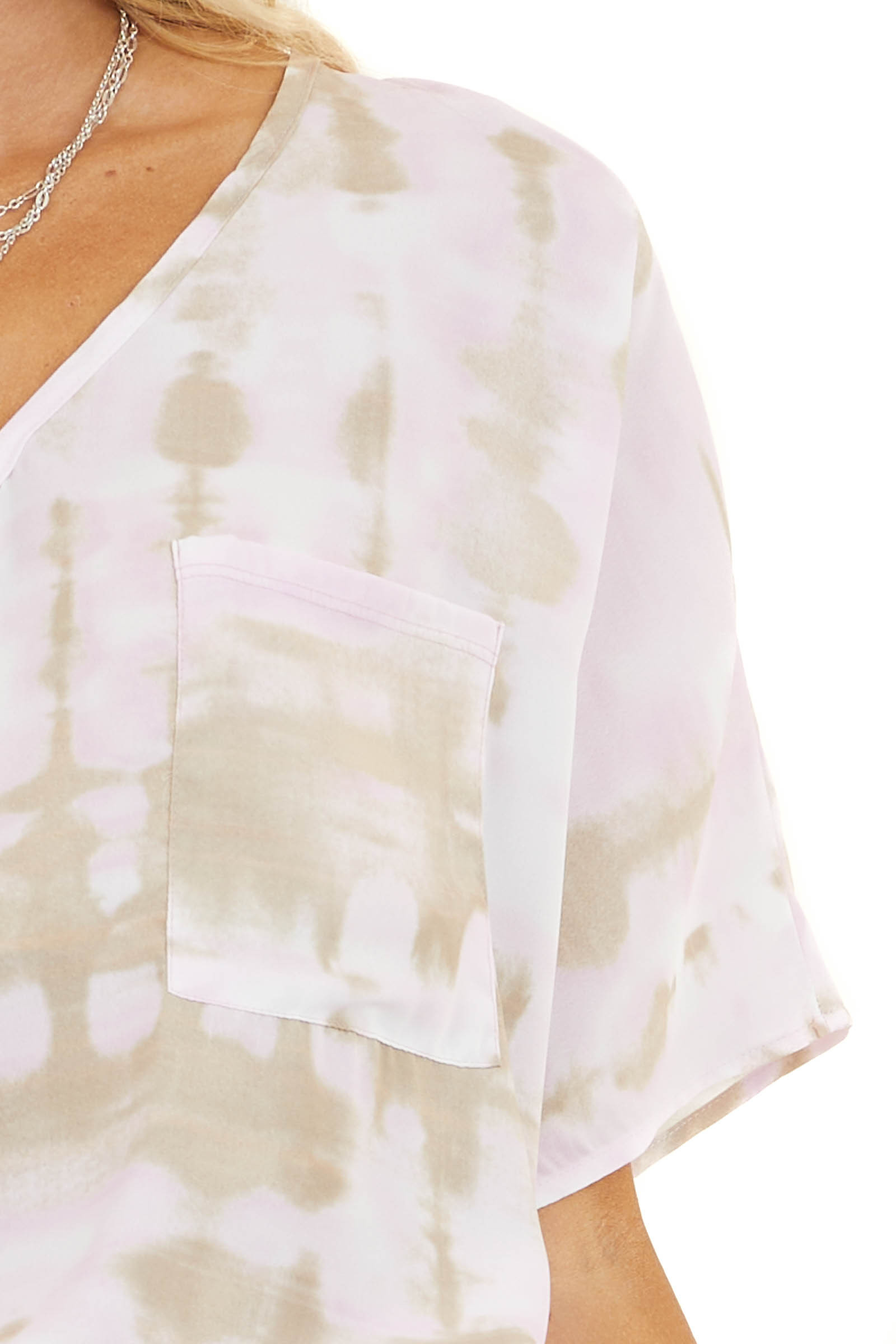 Baby Pink and Latte Tie Dye Woven Top with Front Pocket