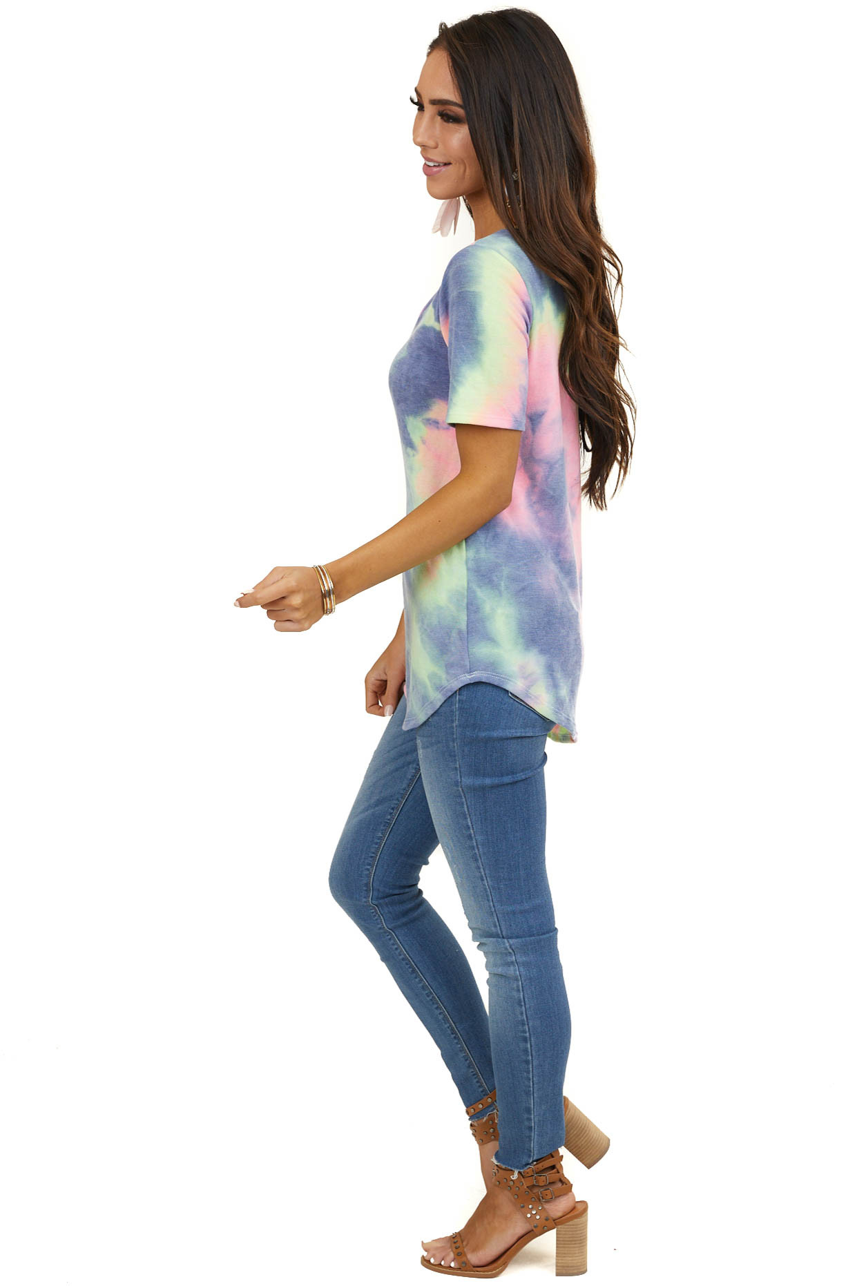 Multicolor Tie Dye Short Sleeve Top with Strap Neckline