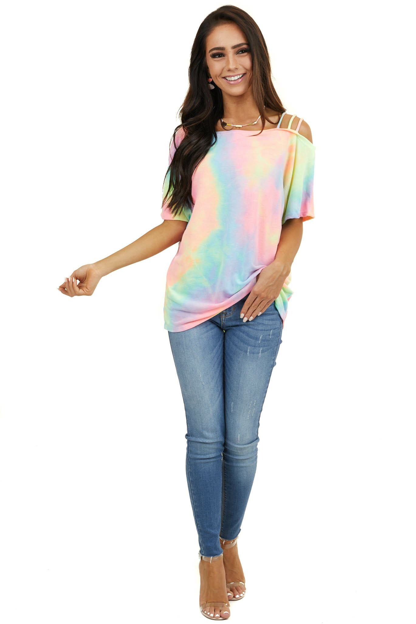 Multicolor Tie Dye Strapped One Shoulder Dolman Top