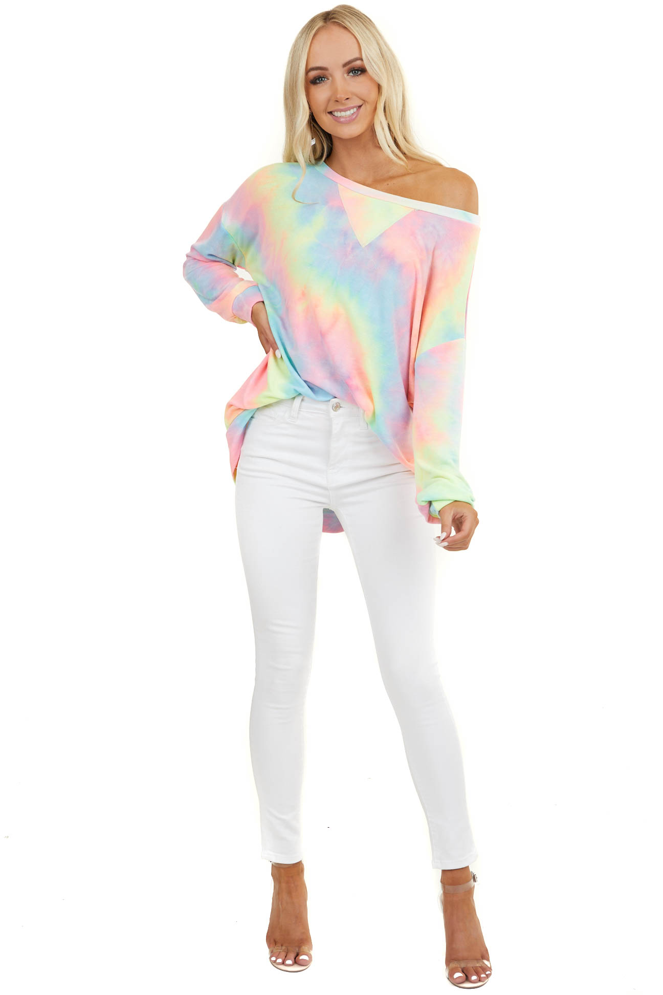 Multicolor Pastel Tie Dye Oversized Pullover with V Stitch