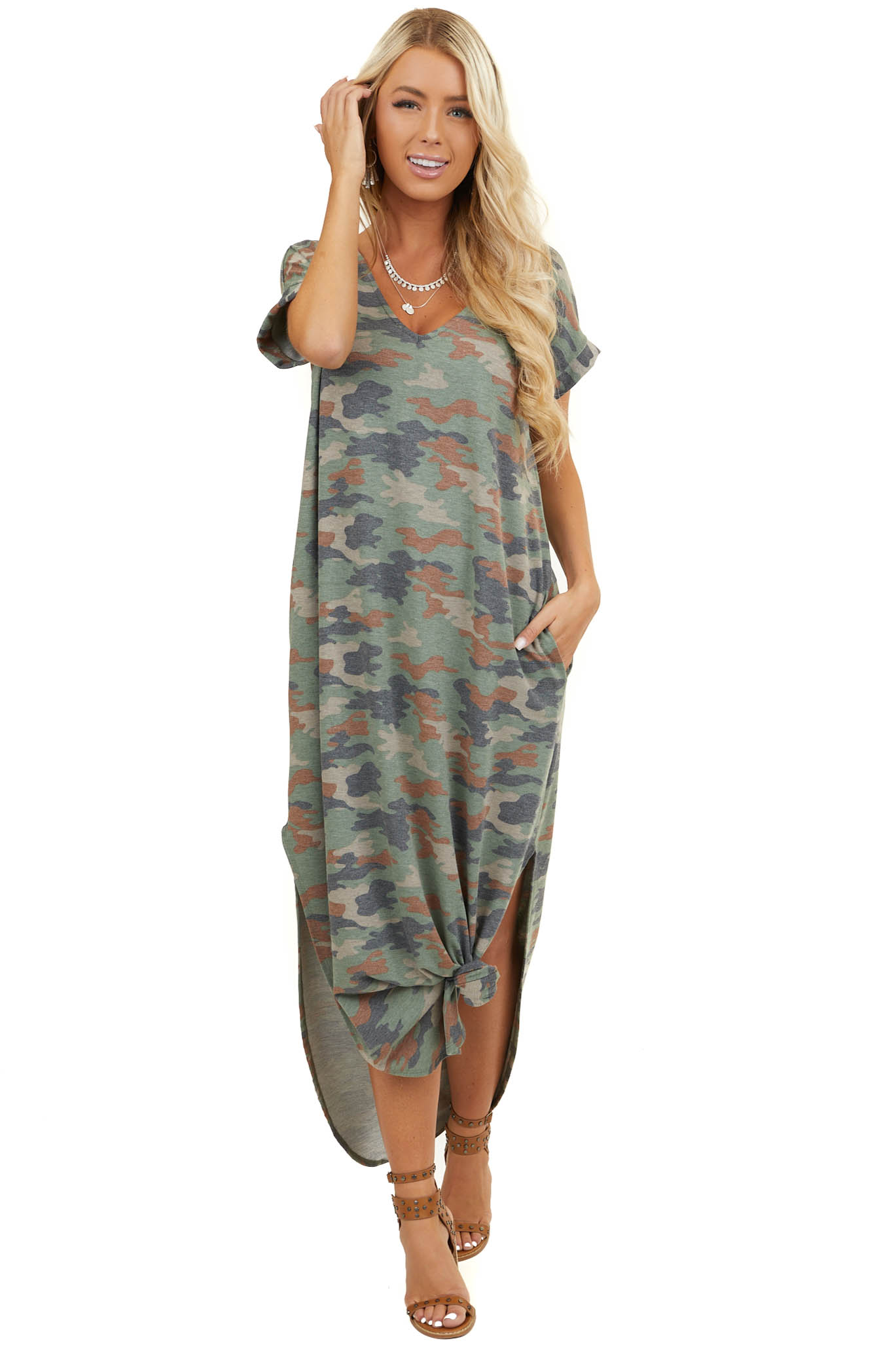 Dark Sage Camo Print Short Sleeve Dress with Pockets