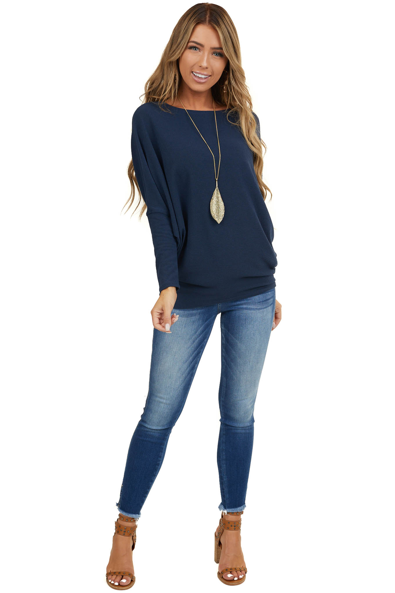 Navy Blue Round Neck Knit Top with Long Dolman Sleeves