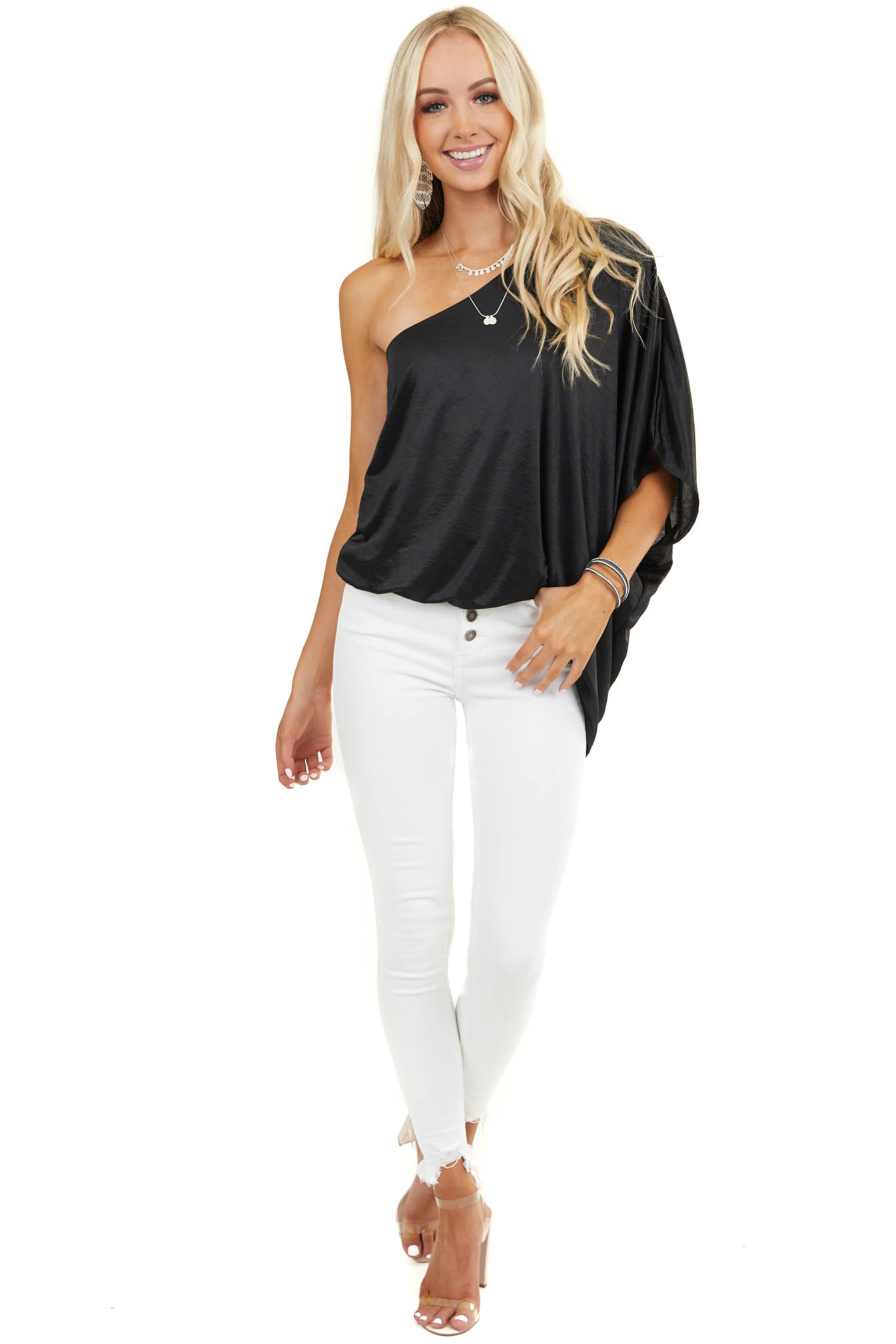 Black One Shoulder Silky Woven Top with Elastic Hemline