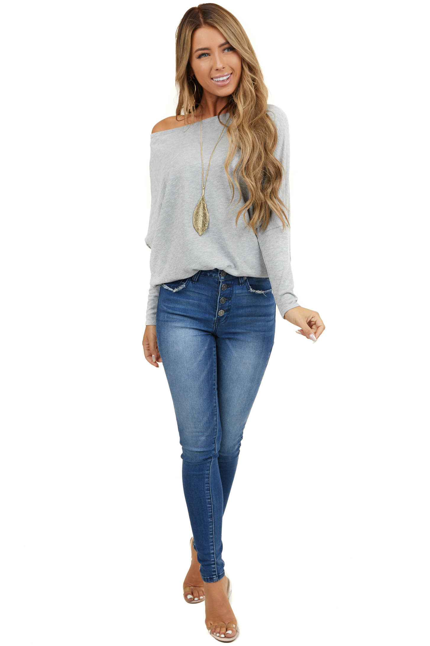 Heather Grey Round Neck Knit Top with Long Dolman Sleeves