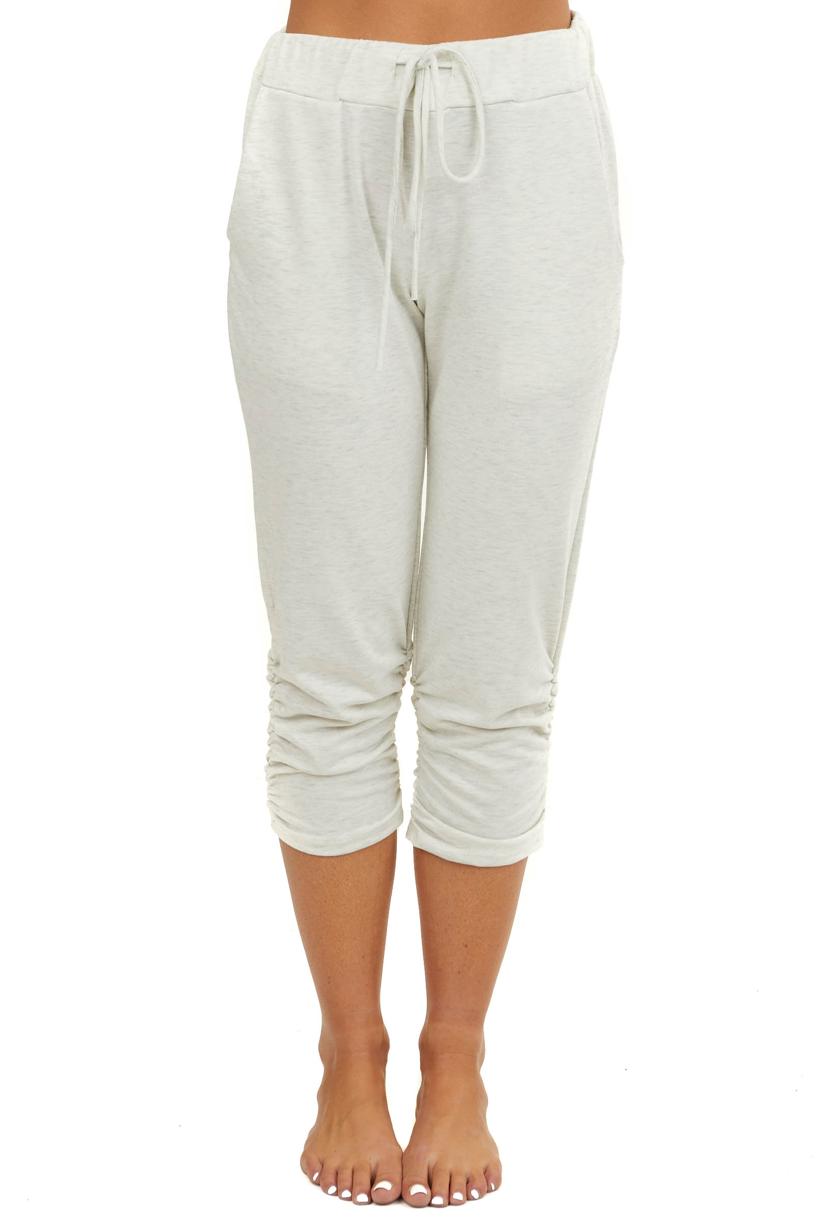 Cream Ruched Capri Joggers with Waist Tie and Pockets