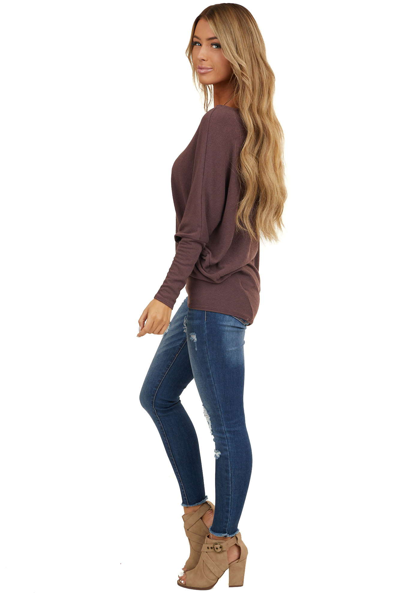 Raisin Round Neck Knit Top with Long Dolman Sleeves