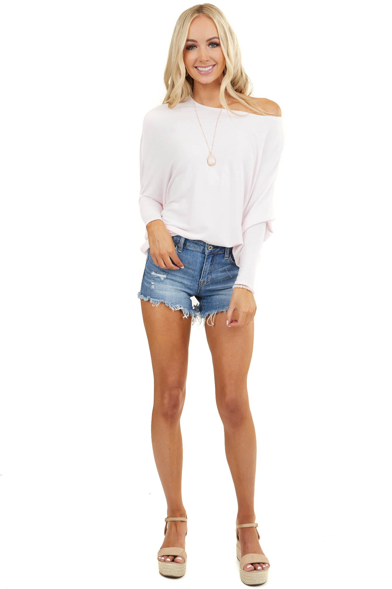 Ballet Pink Round Neck Top with Long Dolman Sleeves