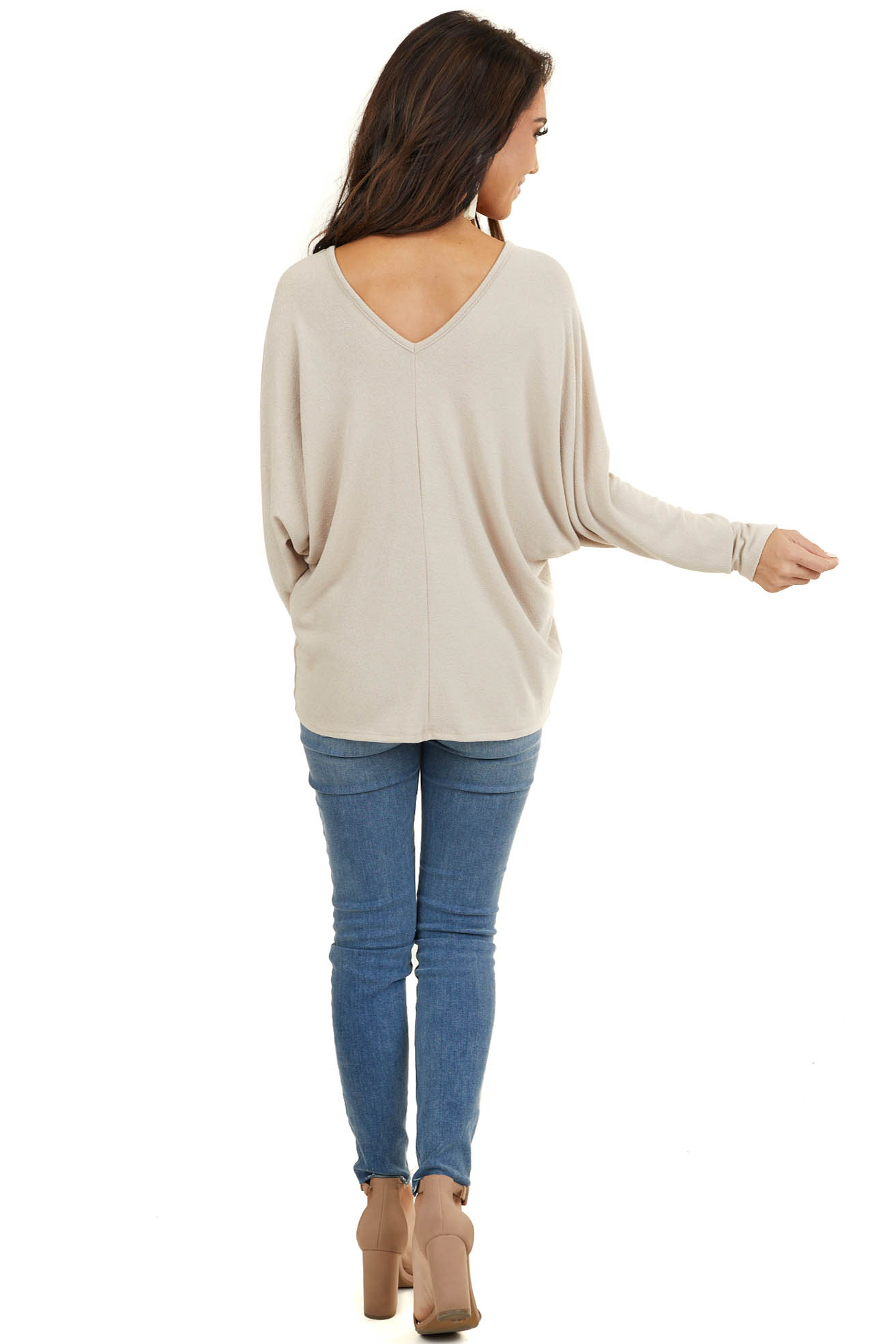 Tan V Neck Knit Top with Long Dolman Sleeves and Center Seam