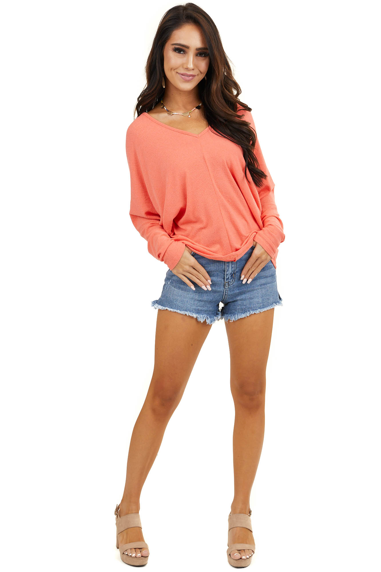 Coral V Neck Top with Long Dolman Sleeves and Center Seam